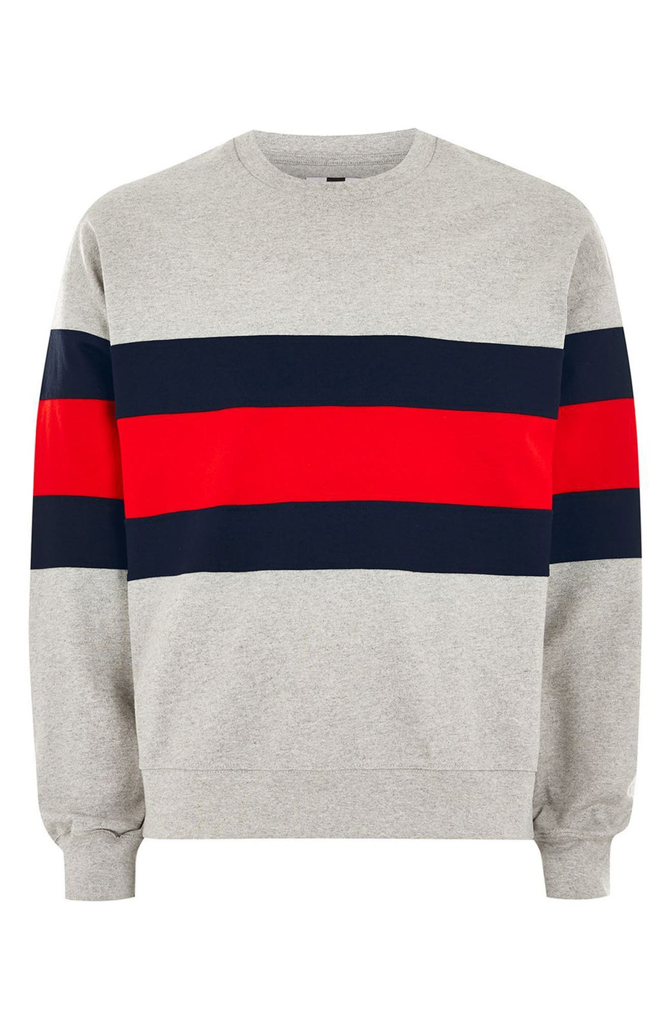 Classic Fit Striped Sweatshirt,                             Alternate thumbnail 4, color,                             LIGHT GREY MULTI