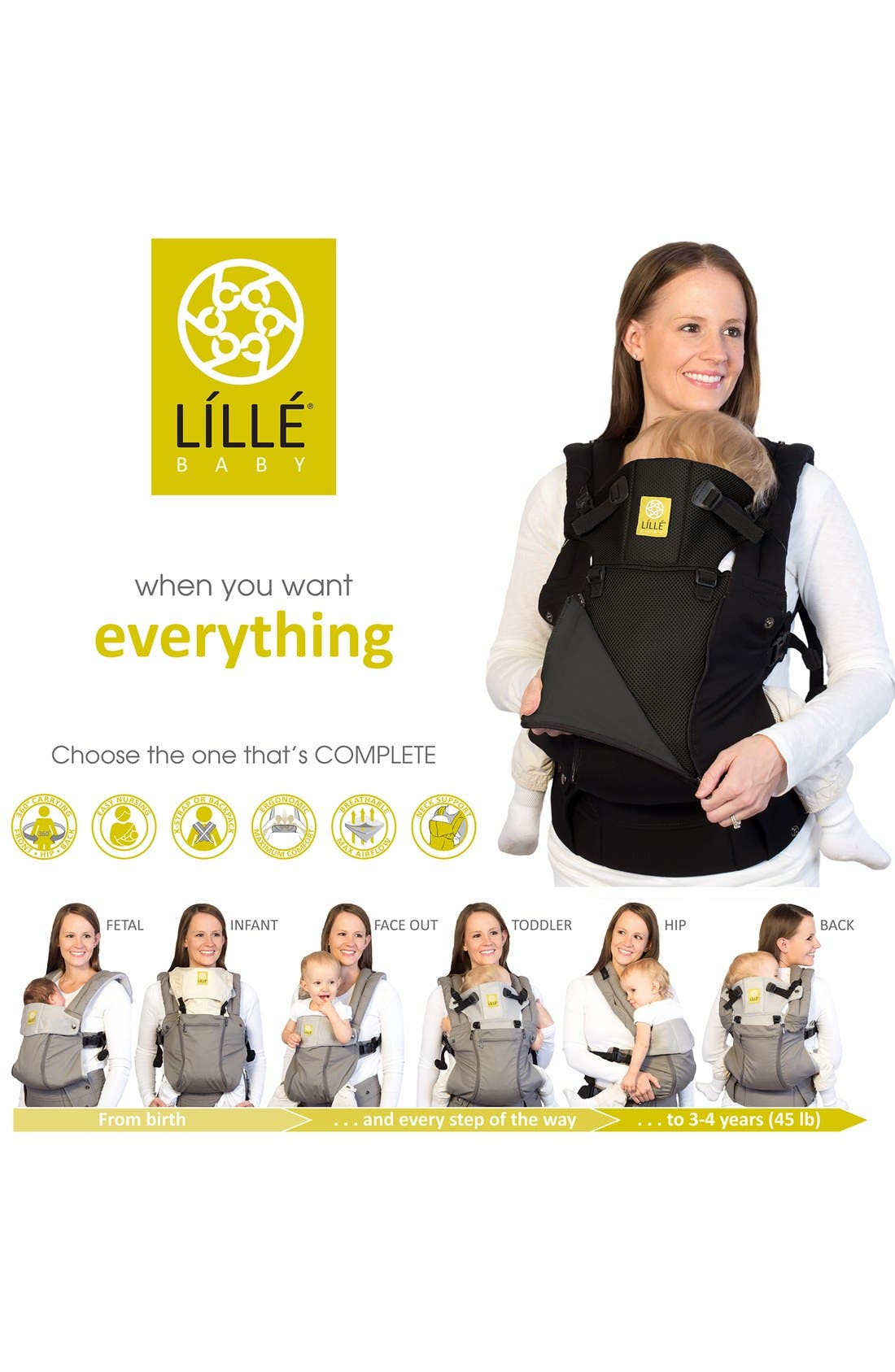 'Complete - All Seasons' Baby Carrier,                             Alternate thumbnail 5, color,                             BLACK