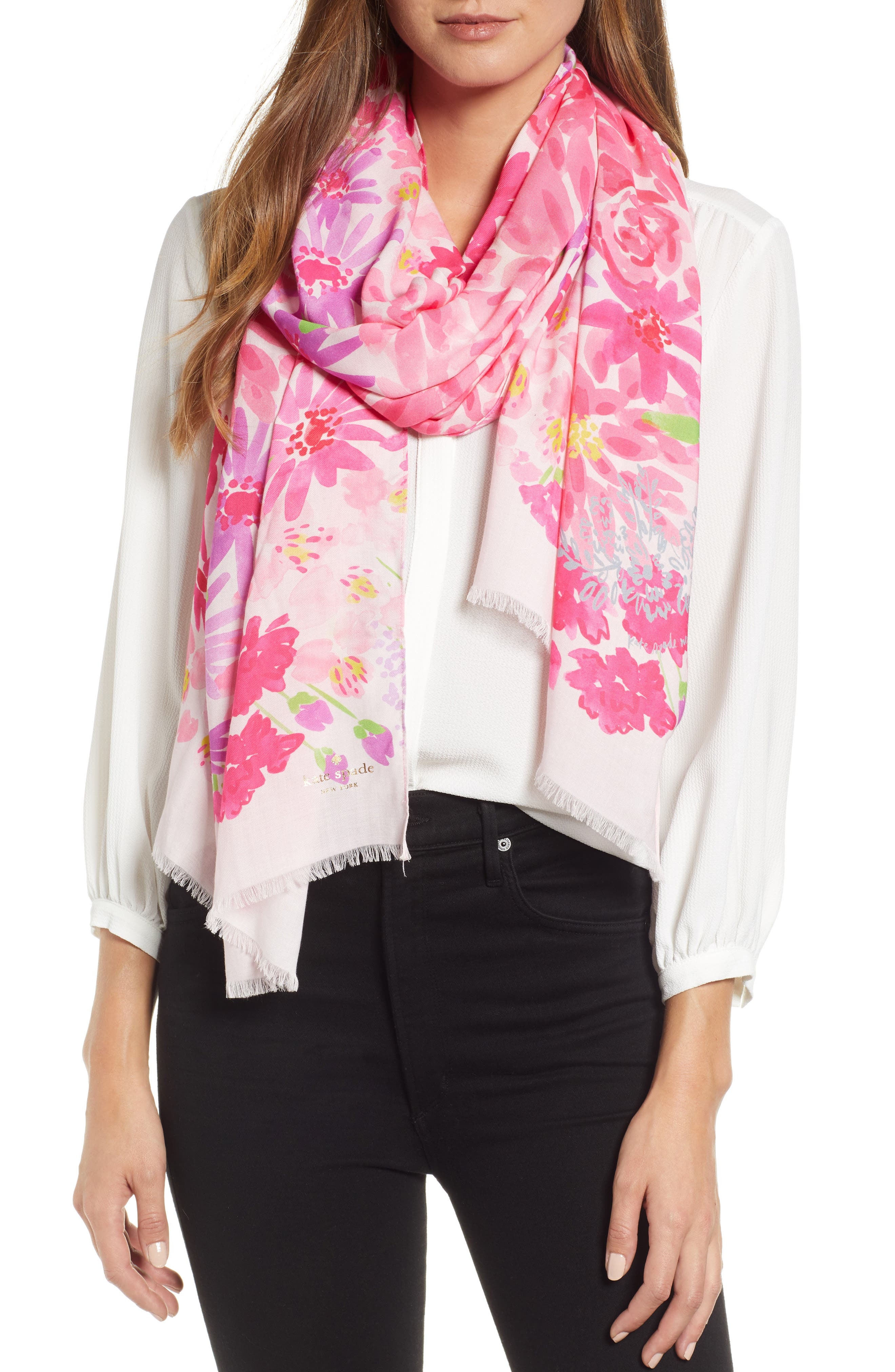 deli flowers scarf,                             Main thumbnail 1, color,                             CREAM
