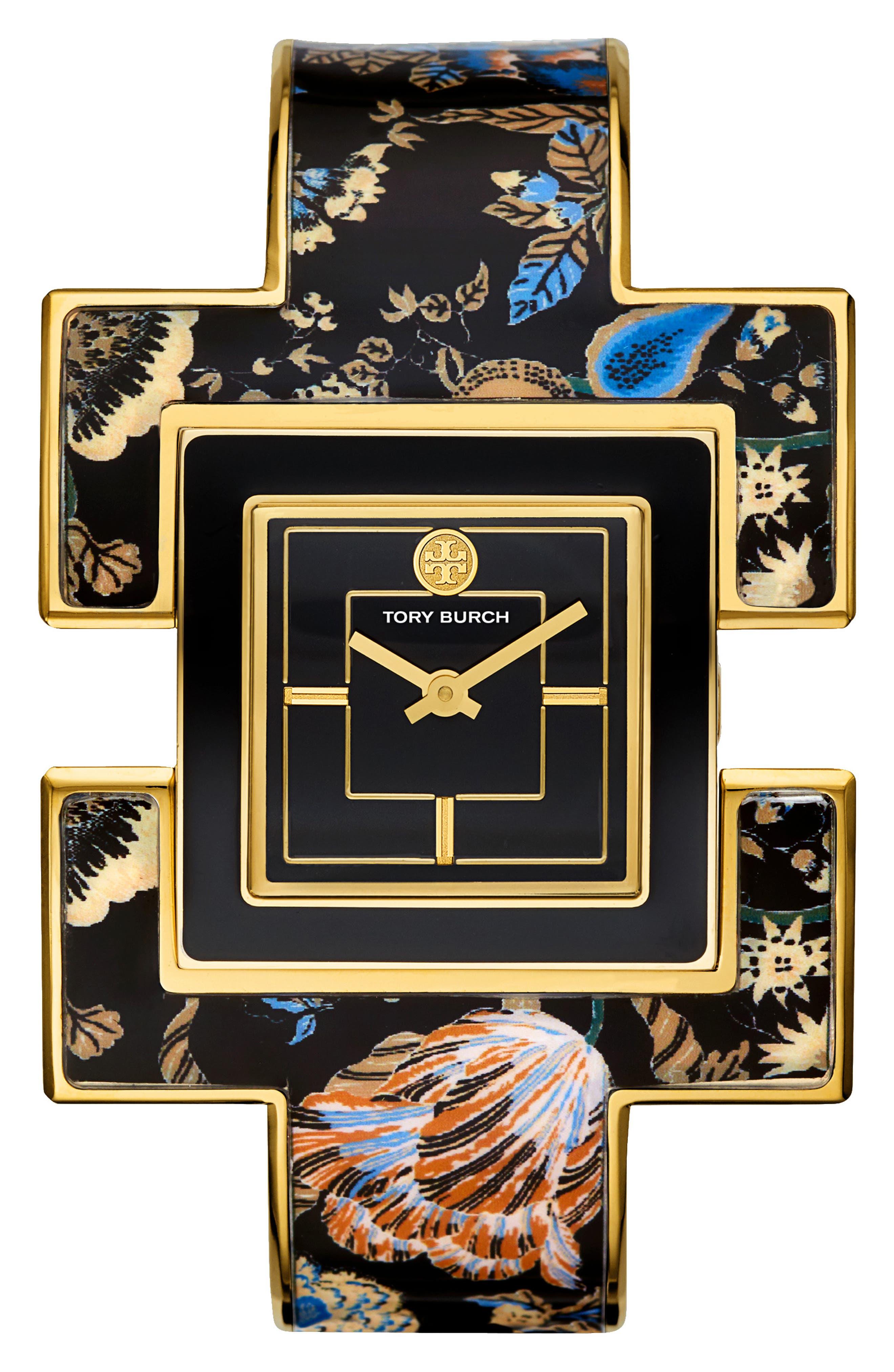 T Bangle Bracelet Watch, 25mm x 25mm,                             Main thumbnail 1, color,                             BLACK/ GOLD