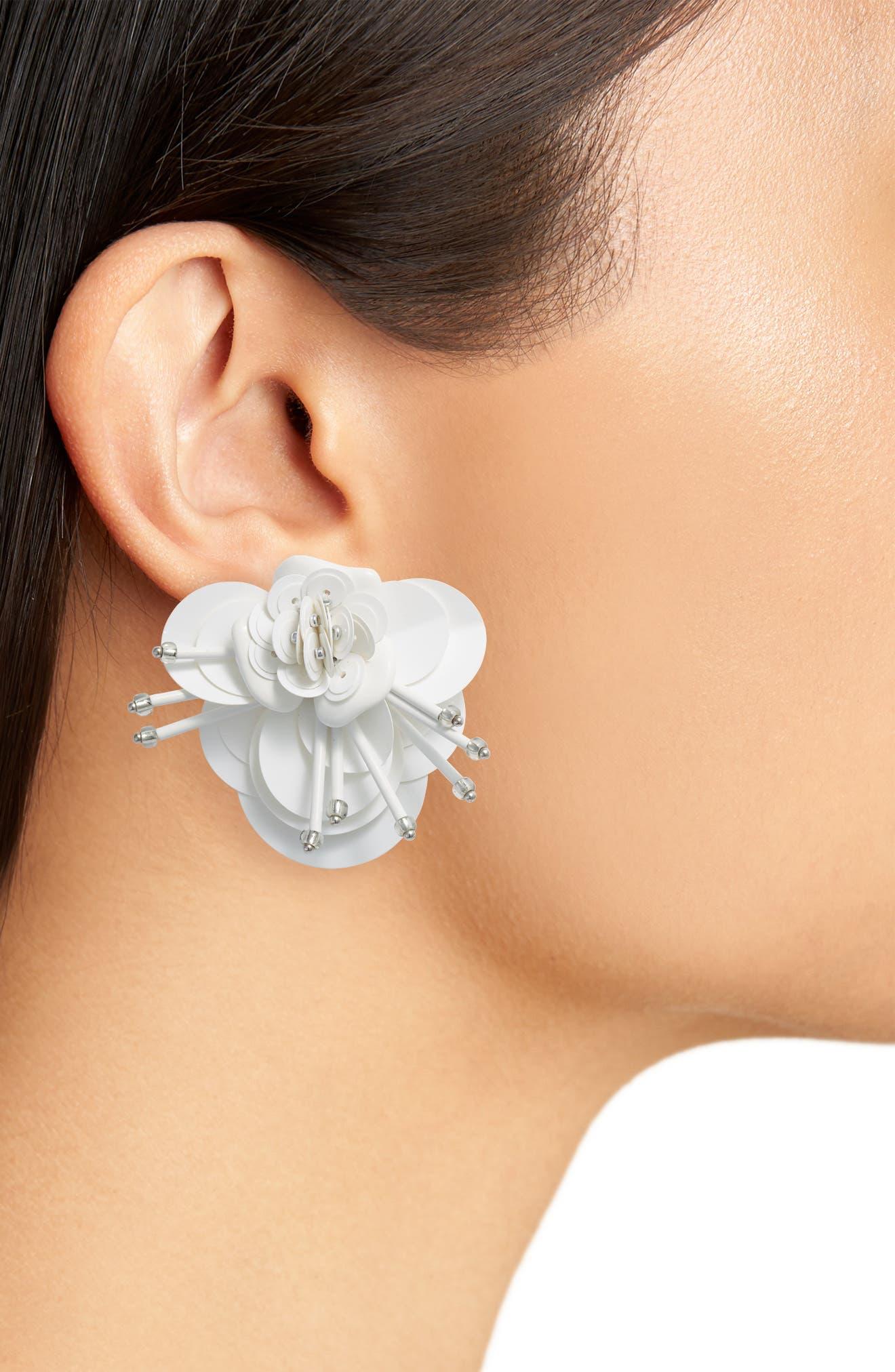 vibrant life floral earrings,                             Alternate thumbnail 2, color,                             WHITE MULTI