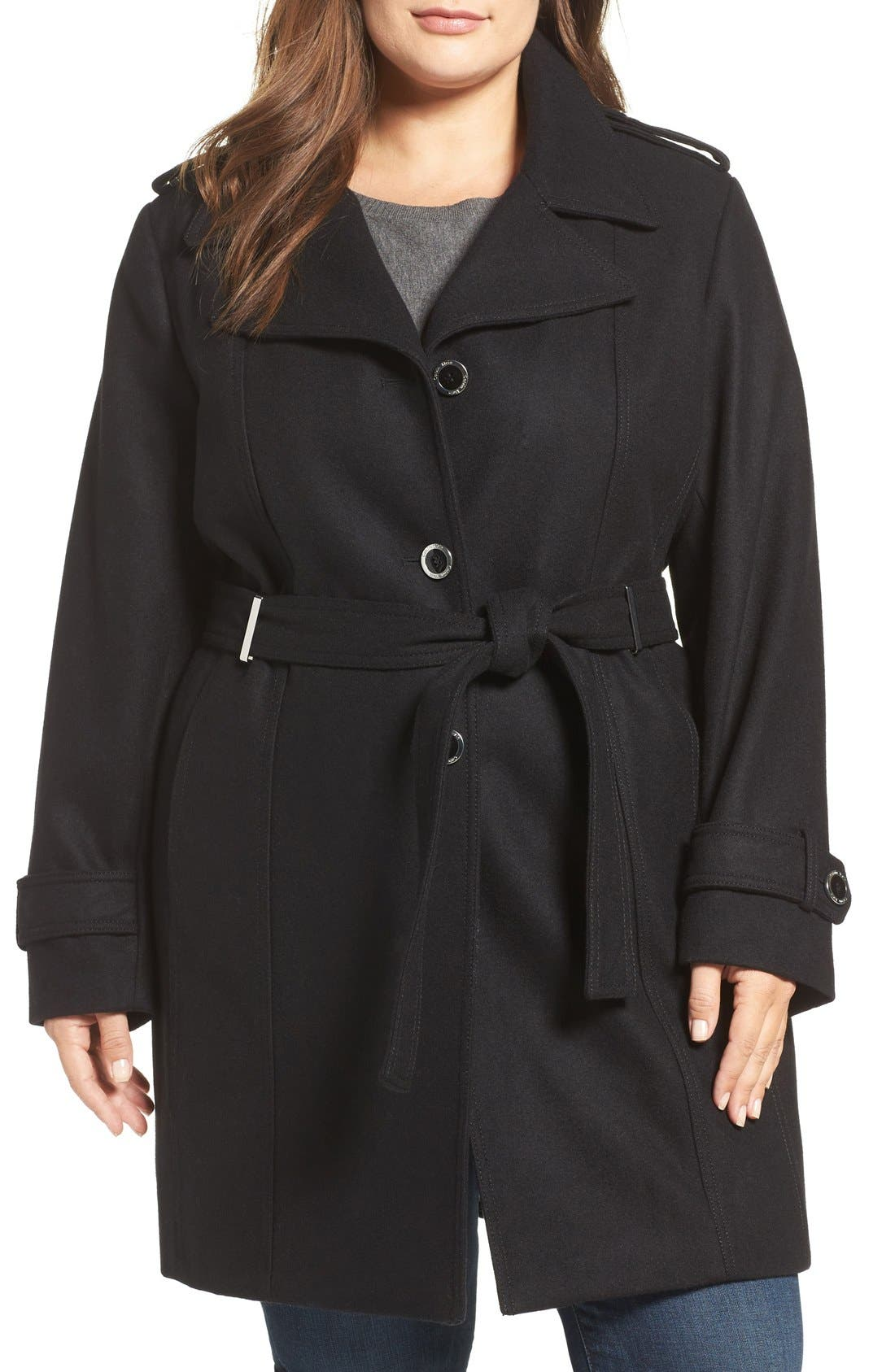 Single Breasted Wool Blend Trench Coat,                             Main thumbnail 2, color,
