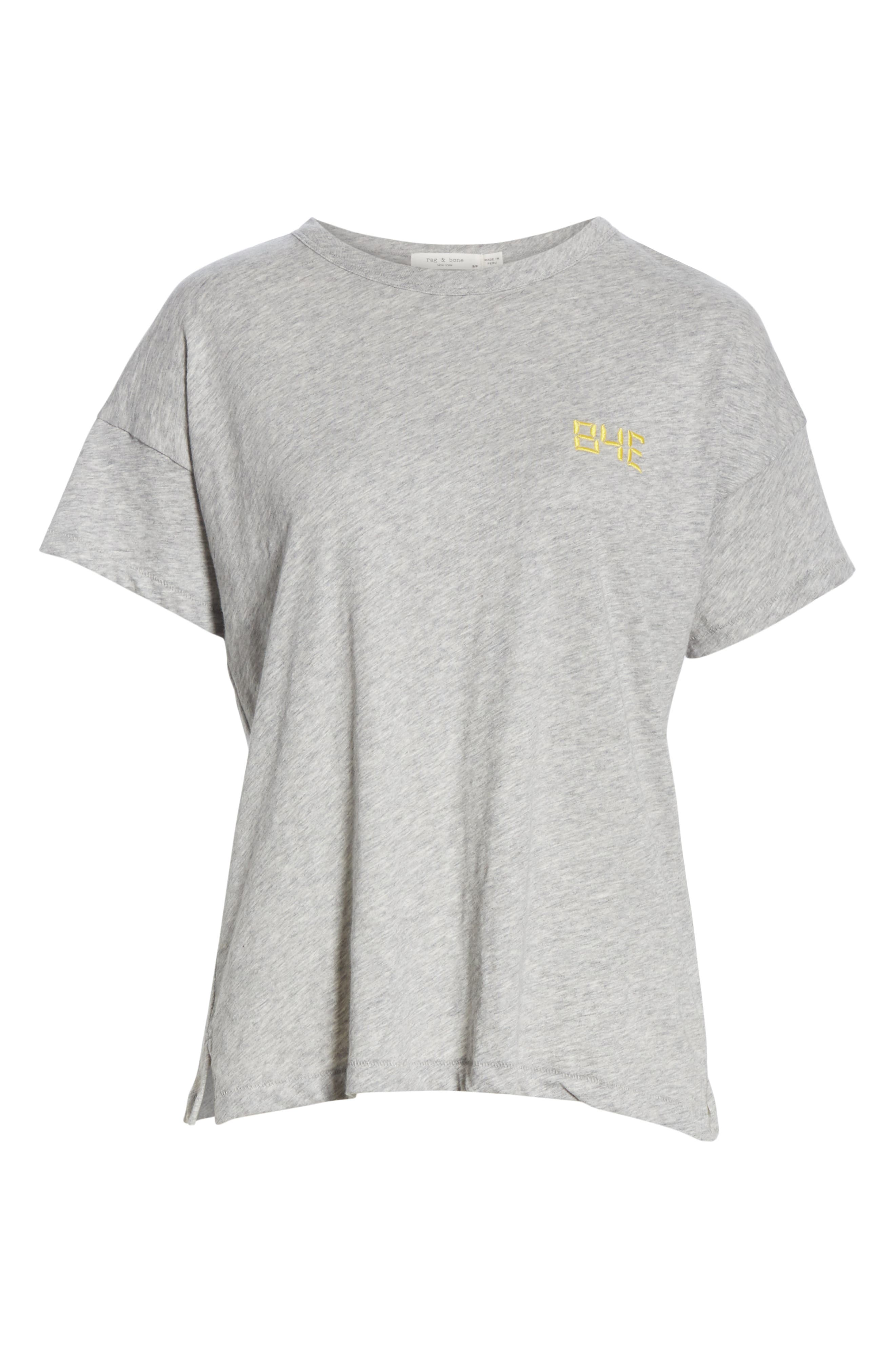 Bye Embroidered Tee,                             Alternate thumbnail 6, color,                             HEATHER GREY