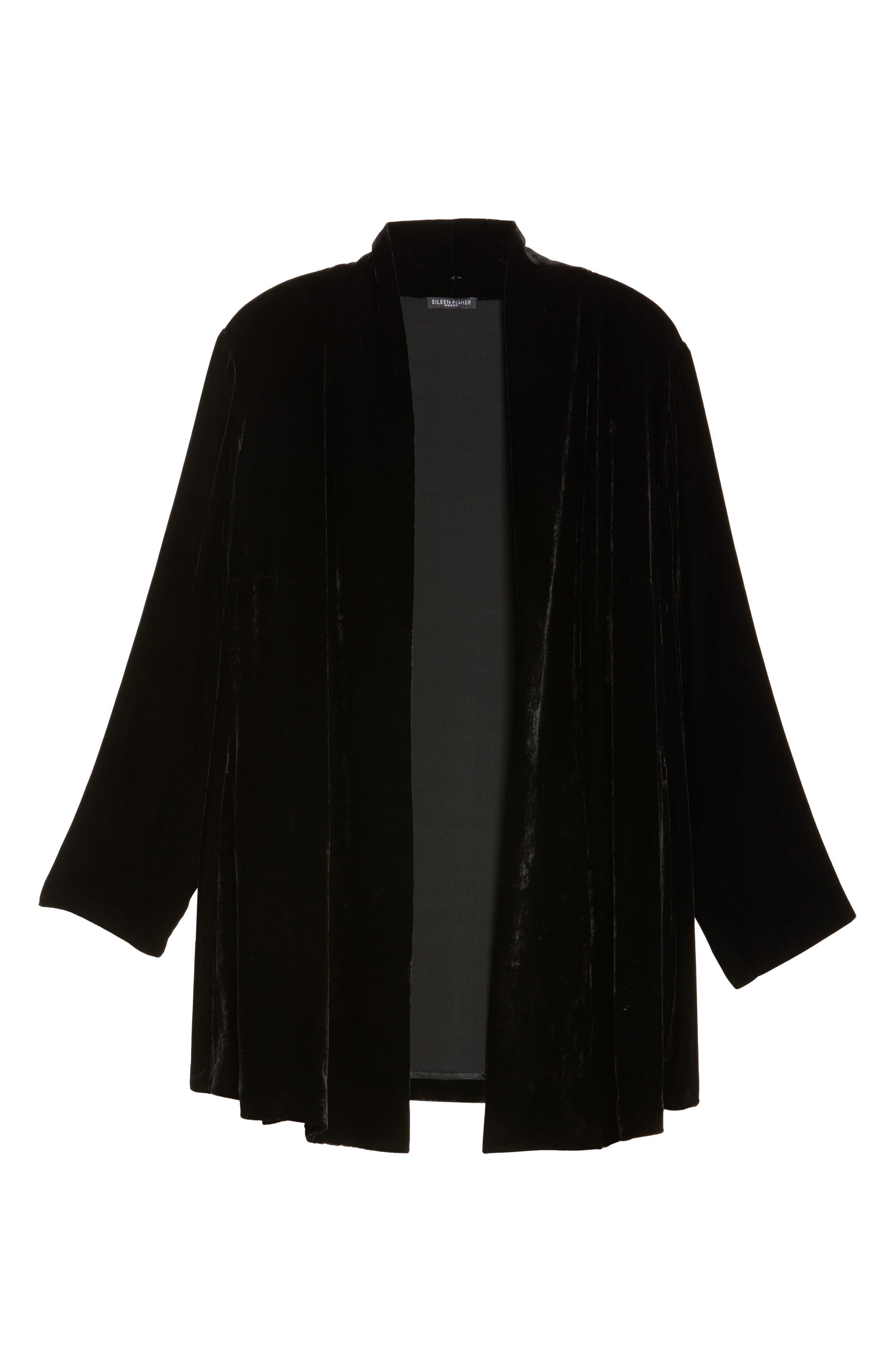Shawl Collar Velvet Jacket,                             Alternate thumbnail 5, color,                             001