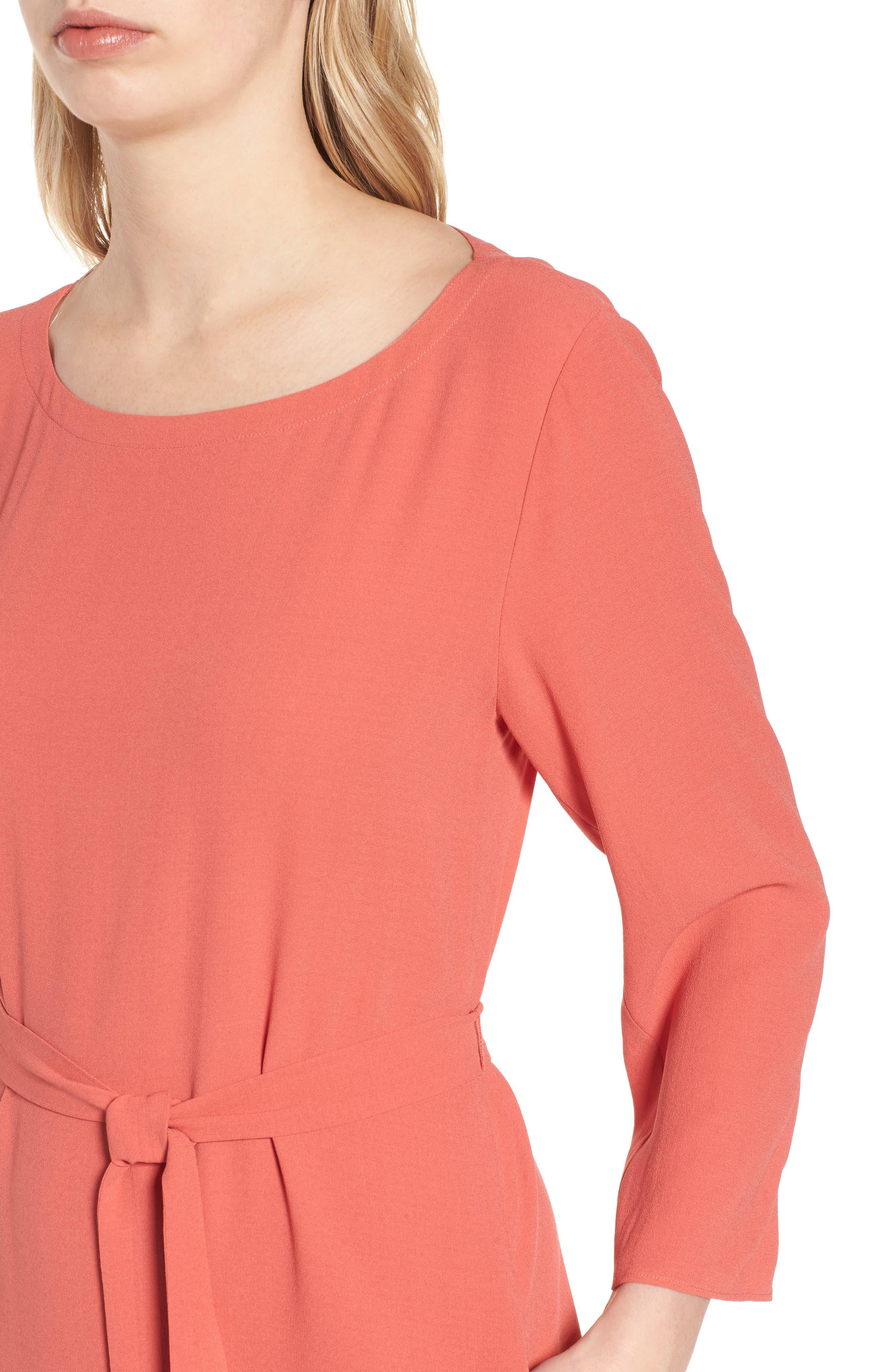 Bateau Neck Silk Dress,                             Alternate thumbnail 8, color,