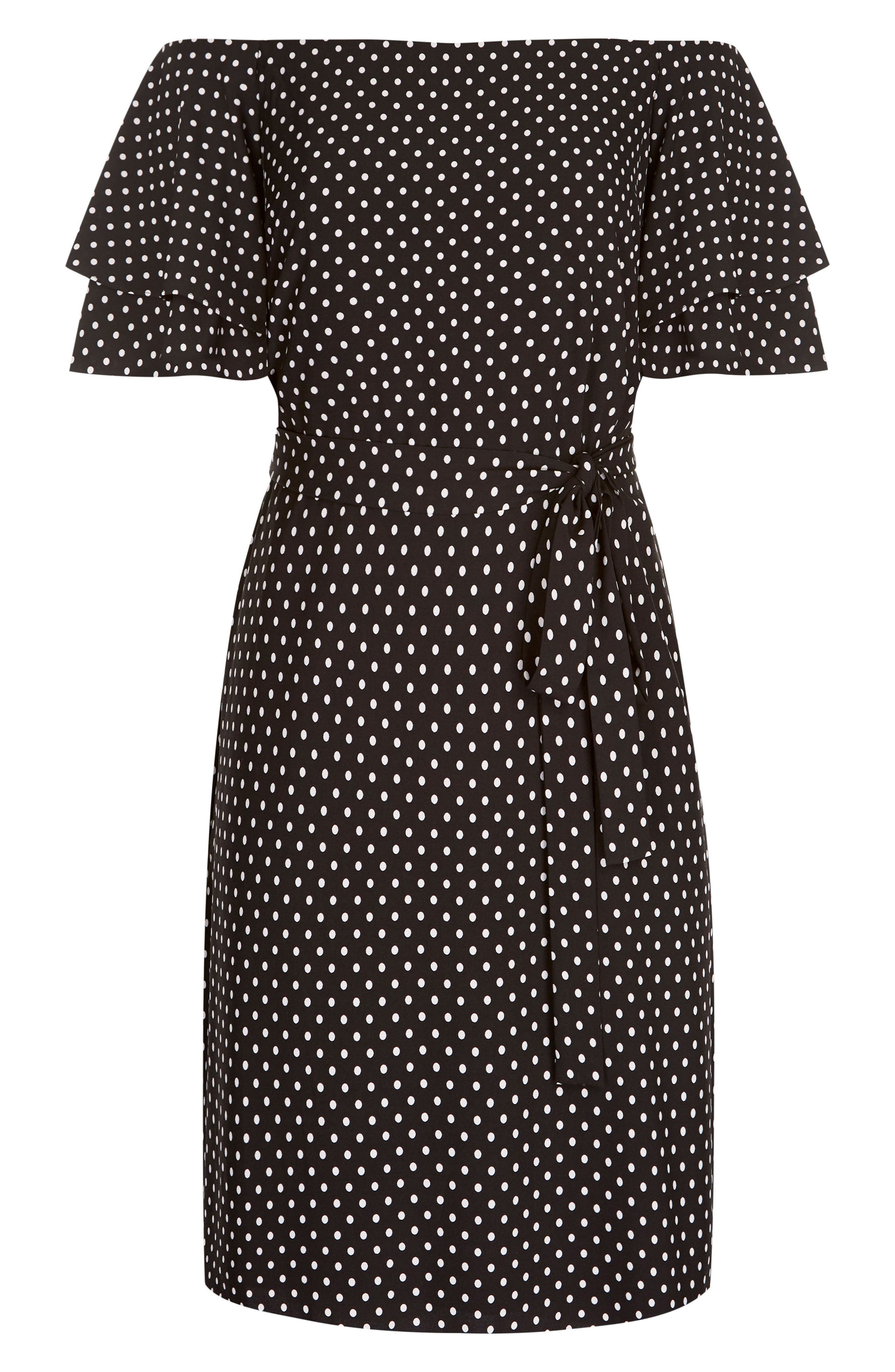 Flutter Sleeve Print Off the Shoulder Dress,                             Alternate thumbnail 4, color,                             SPOT