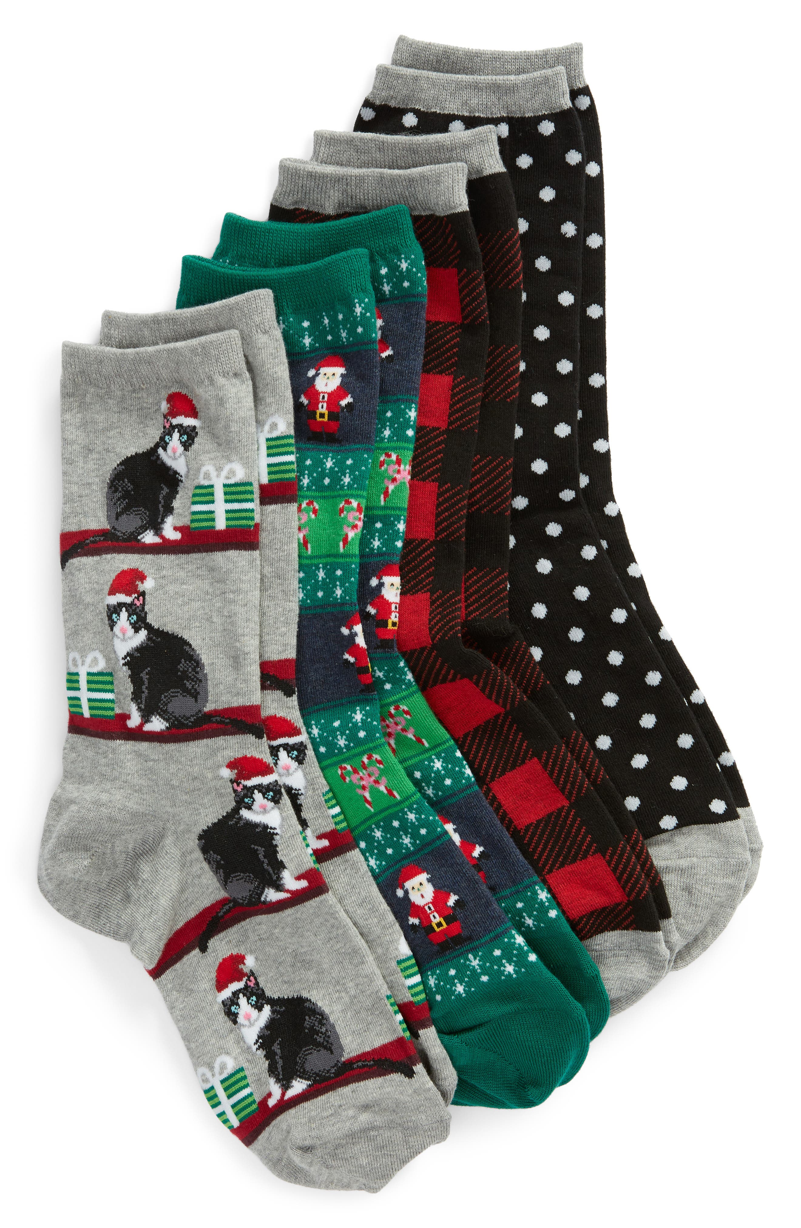 4-Pack Holiday Cats Socks in Black