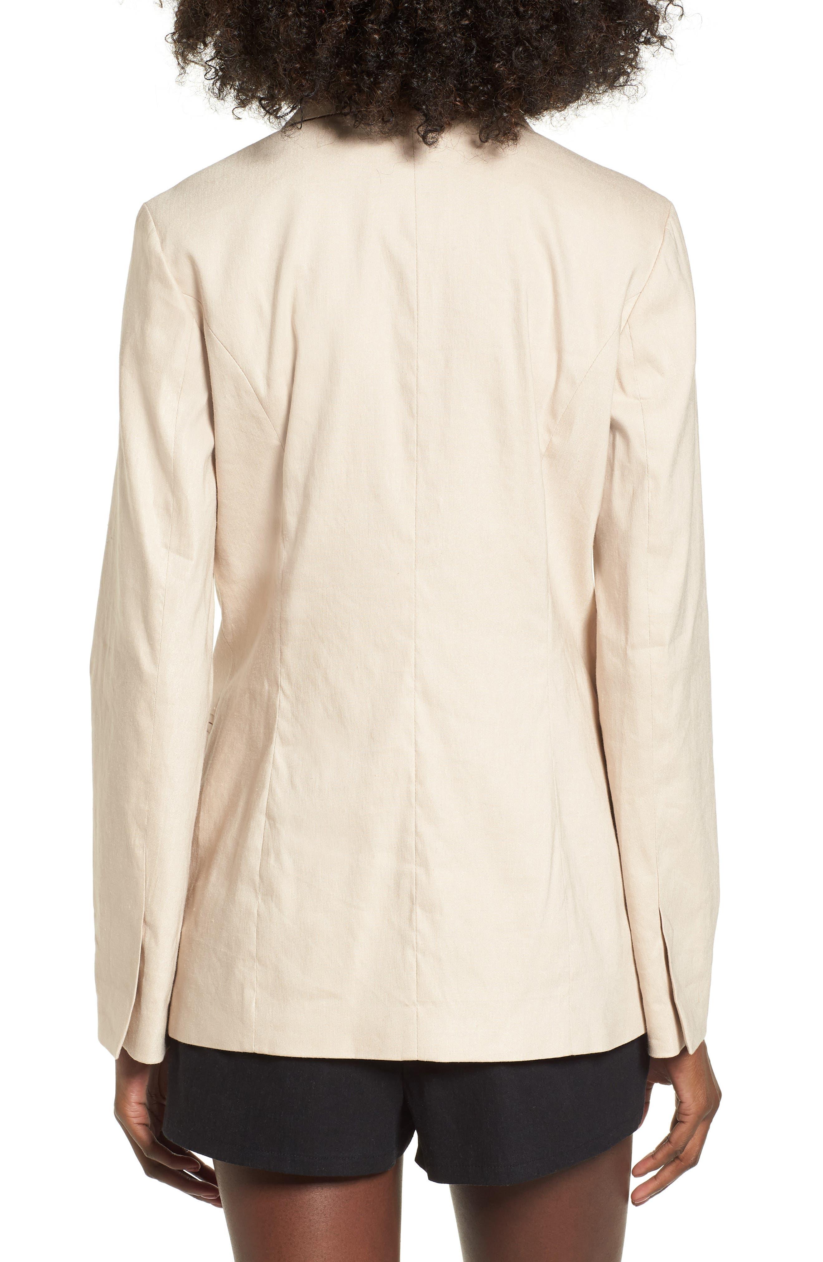Double Breasted Linen Blend Blazer,                             Alternate thumbnail 8, color,