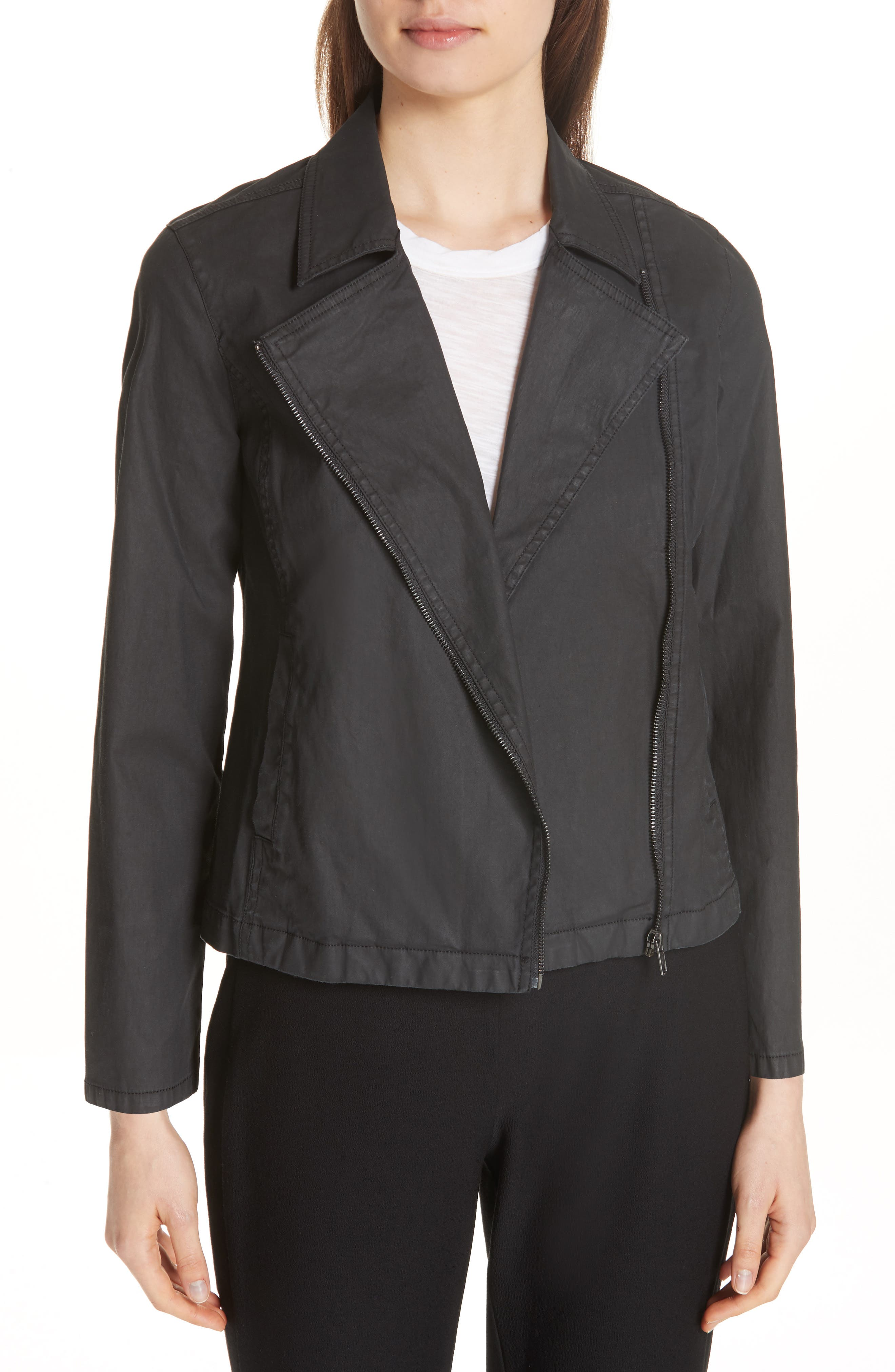petite women's eileen fisher stretch organic cotton short jacket, size large p - black
