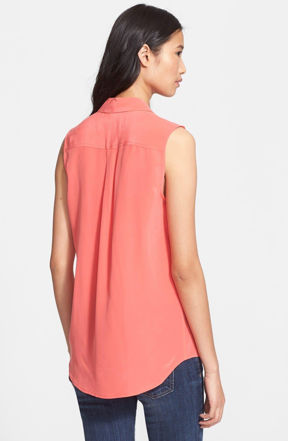 'Slim Signature' Sleeveless Silk Shirt,                             Alternate thumbnail 89, color,