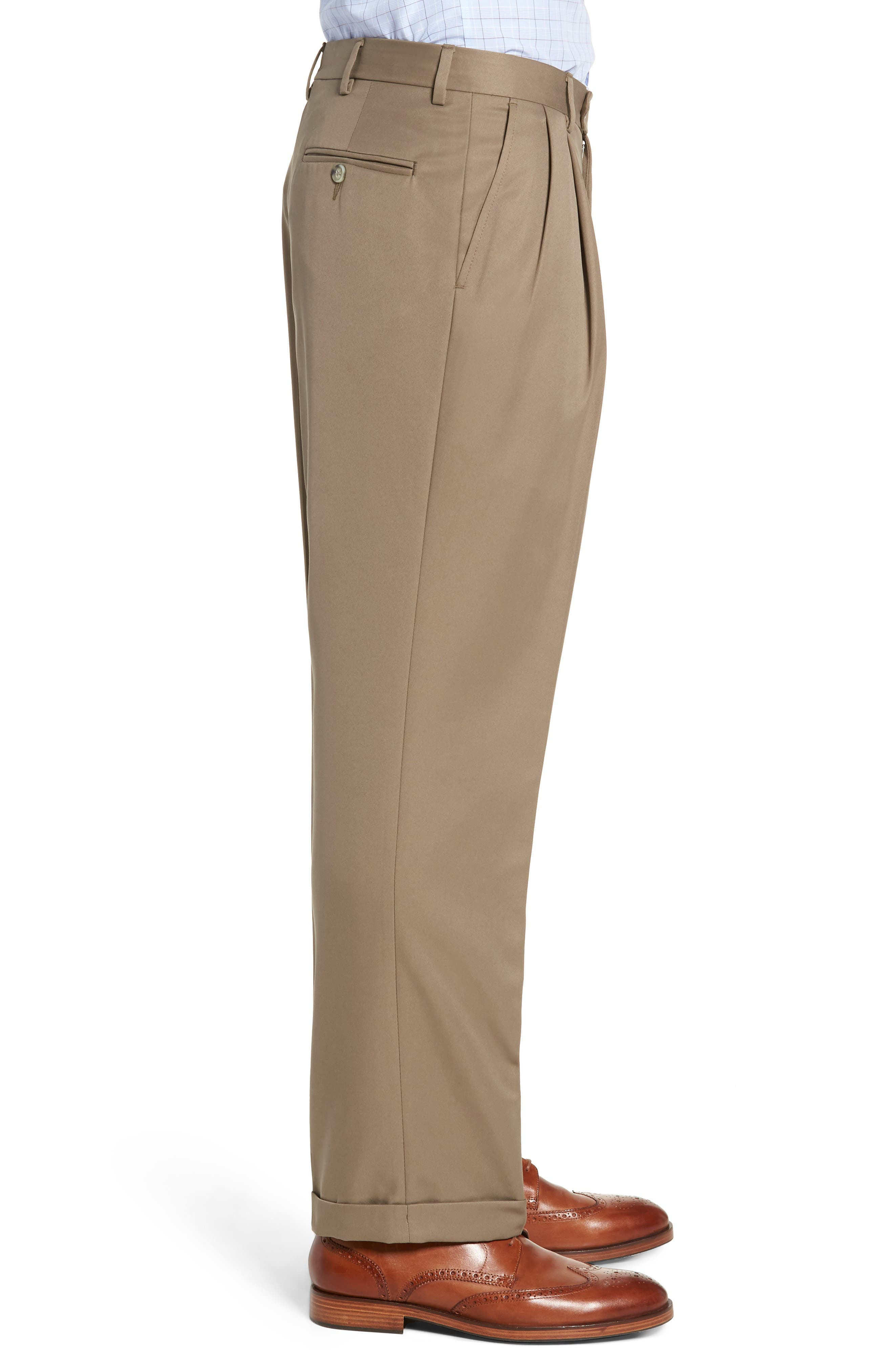 Classic Fit Pleated Microfiber Performance Trousers,                             Alternate thumbnail 3, color,                             GREEN