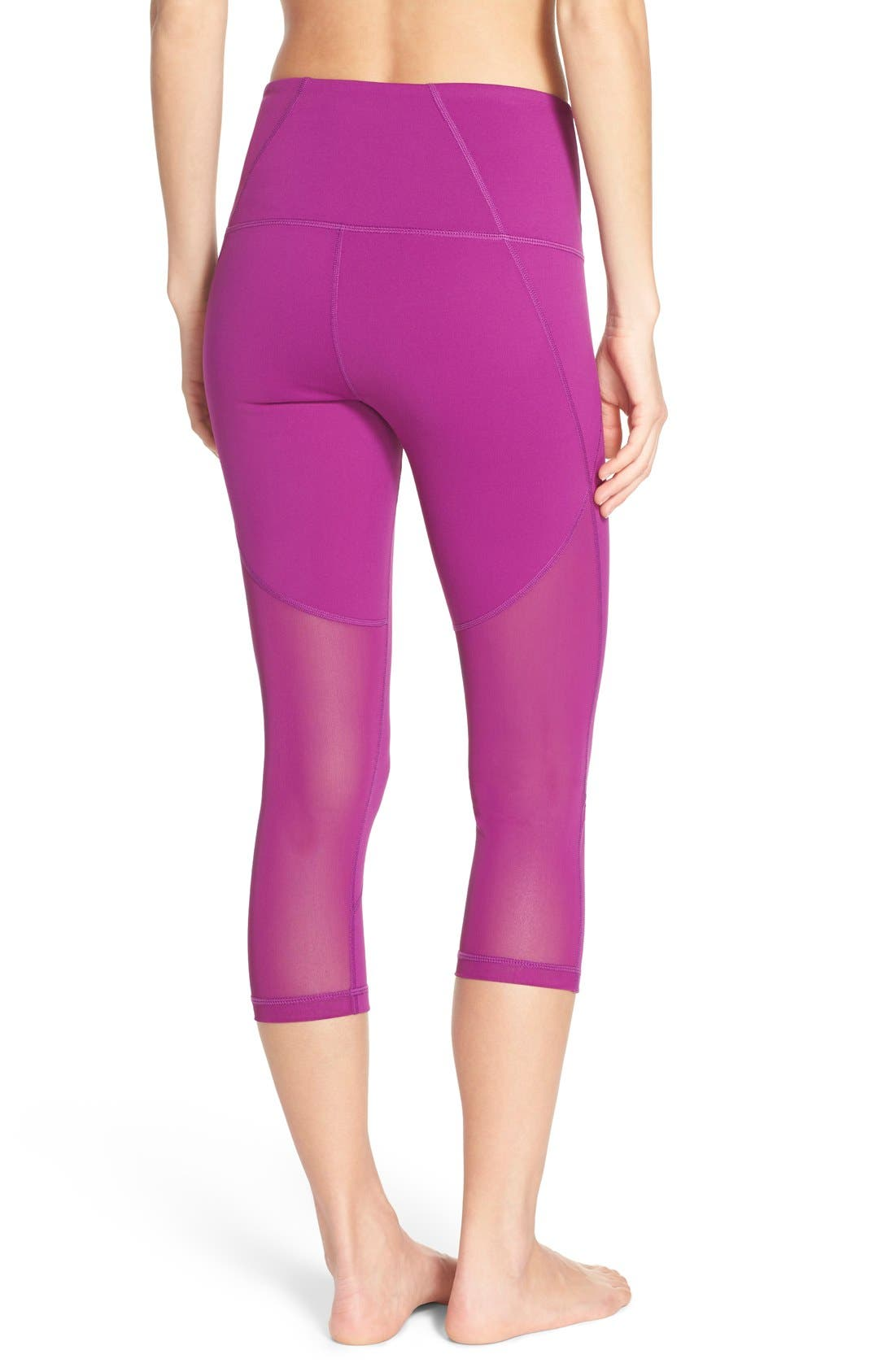 'Live In - Sultry' High Waist Mesh Crop Leggings,                             Main thumbnail 10, color,