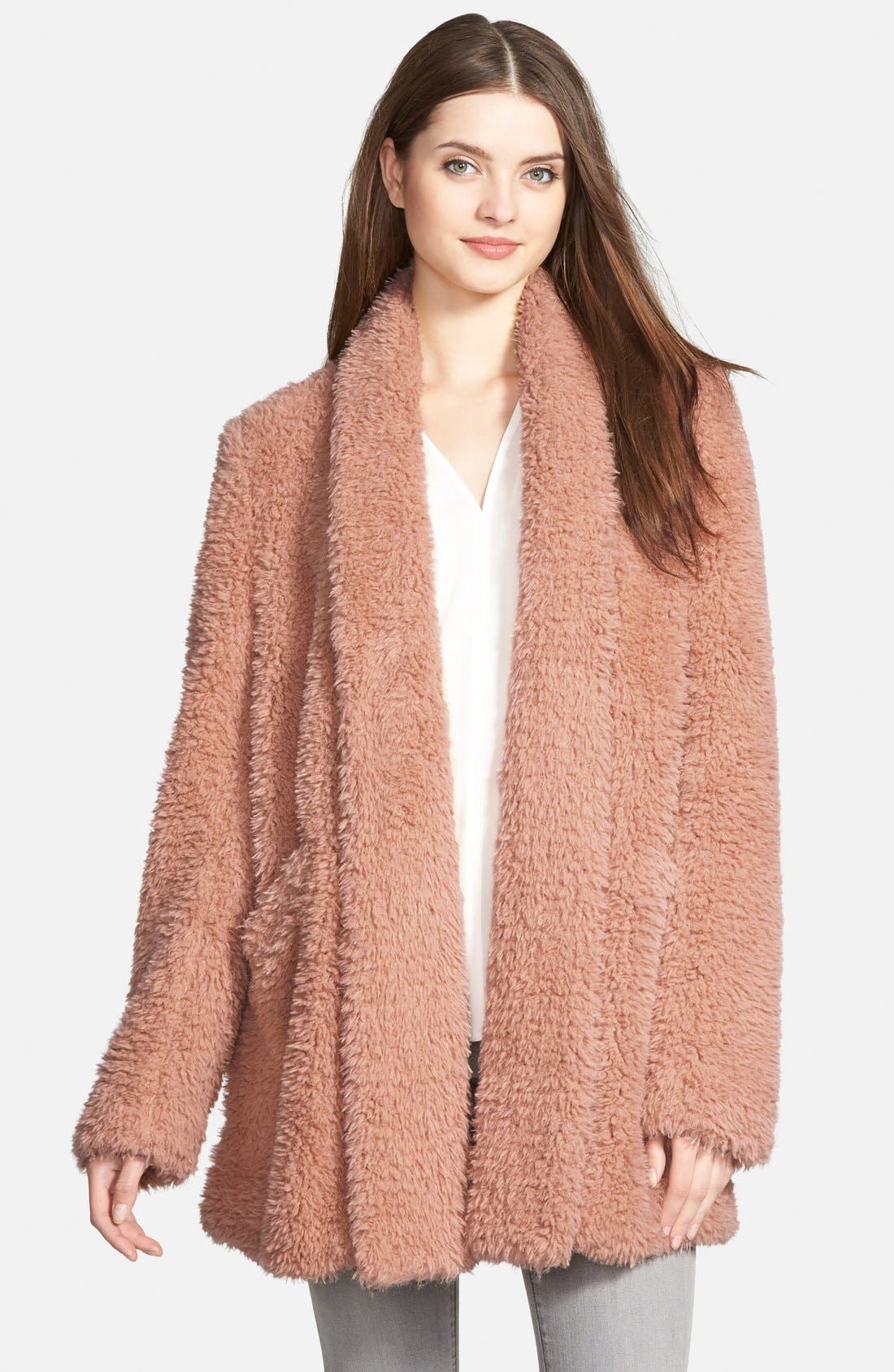 'Teddy Bear' Faux Fur Clutch Coat,                             Main thumbnail 4, color,