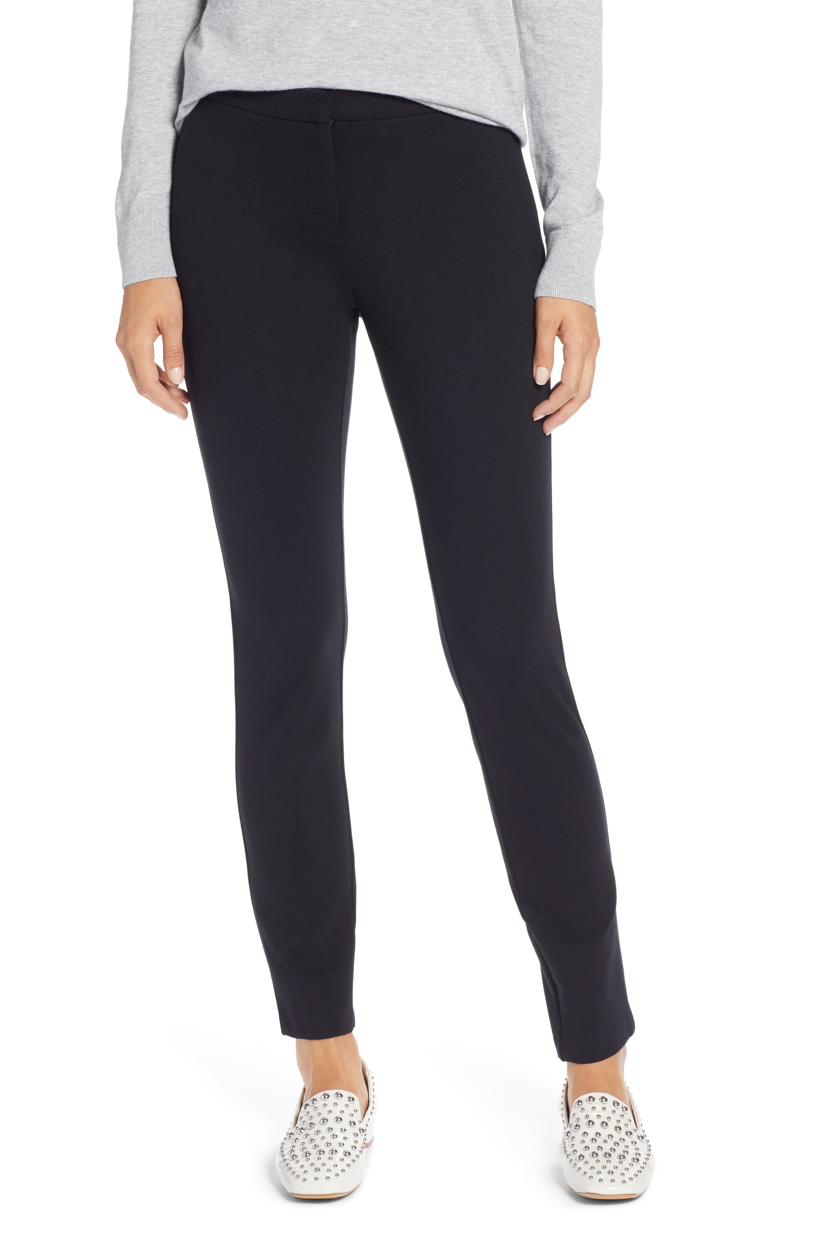 HALOGEN<SUP>®</SUP> Ponte Skinny Pants, Main, color, BLACK