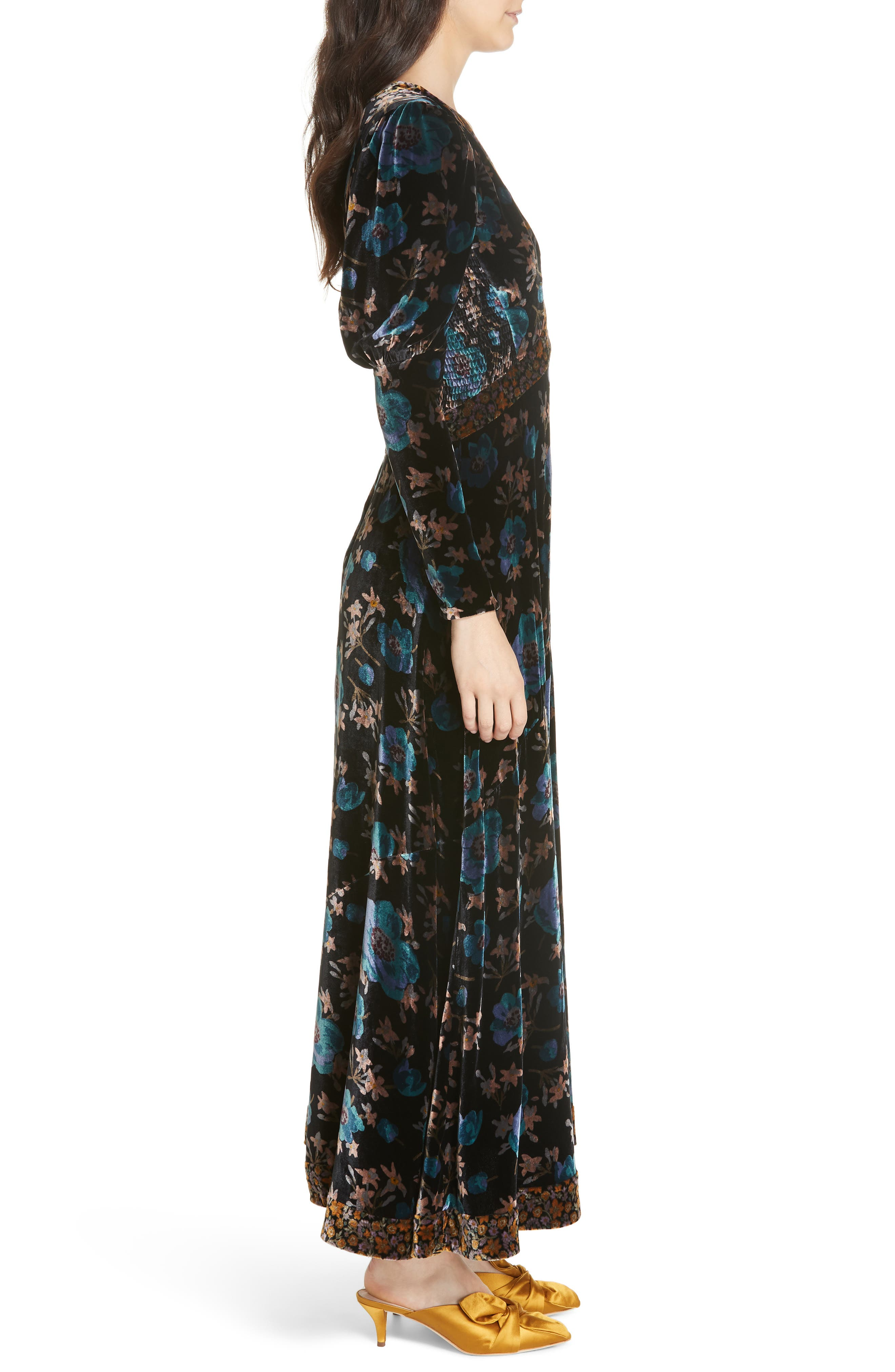 Solstice Velvet Maxi Dress,                             Alternate thumbnail 3, color,                             014