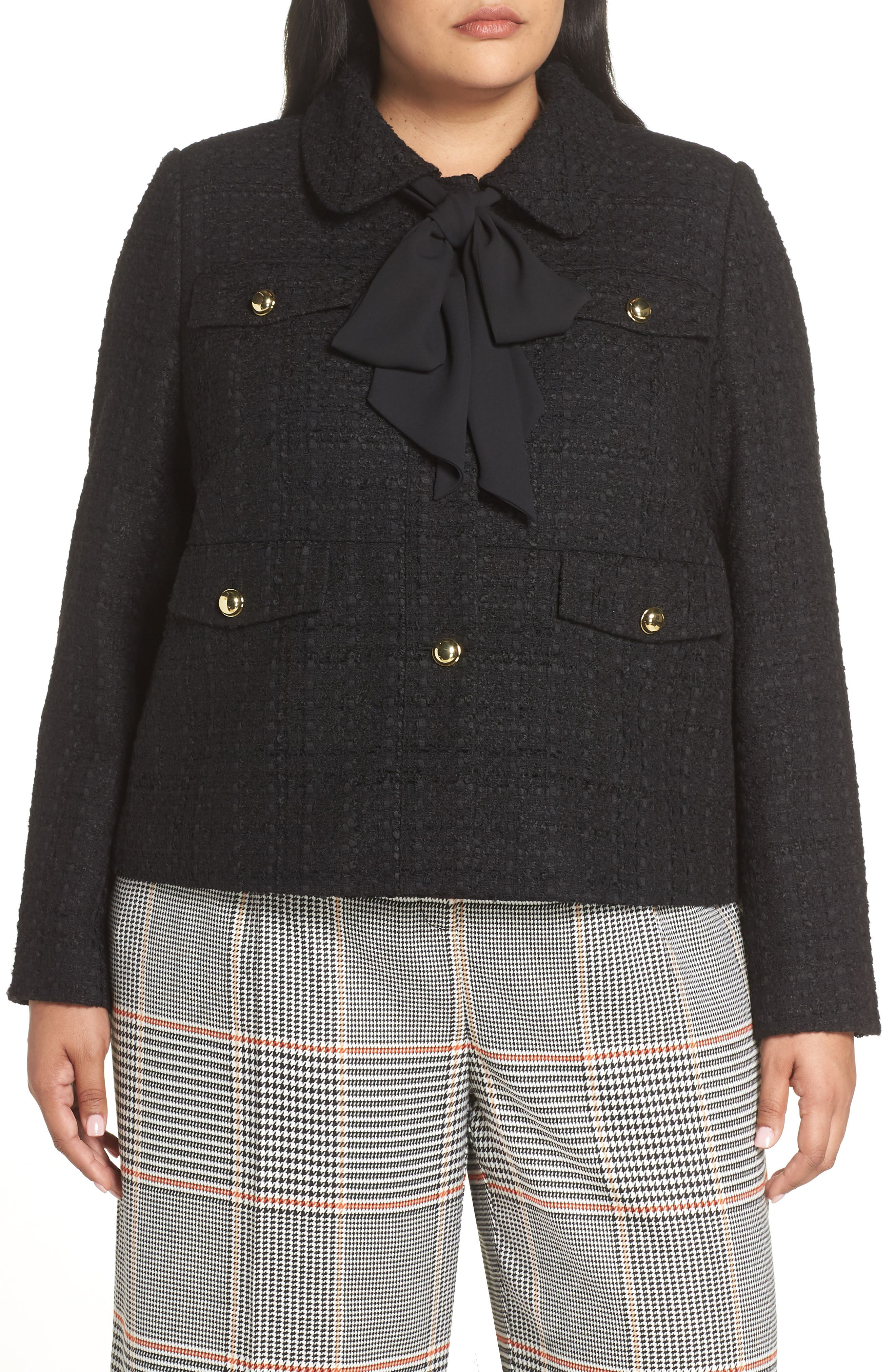 x Atlantic-Pacific Bow Detail Tweed Jacket,                             Main thumbnail 1, color,                             001