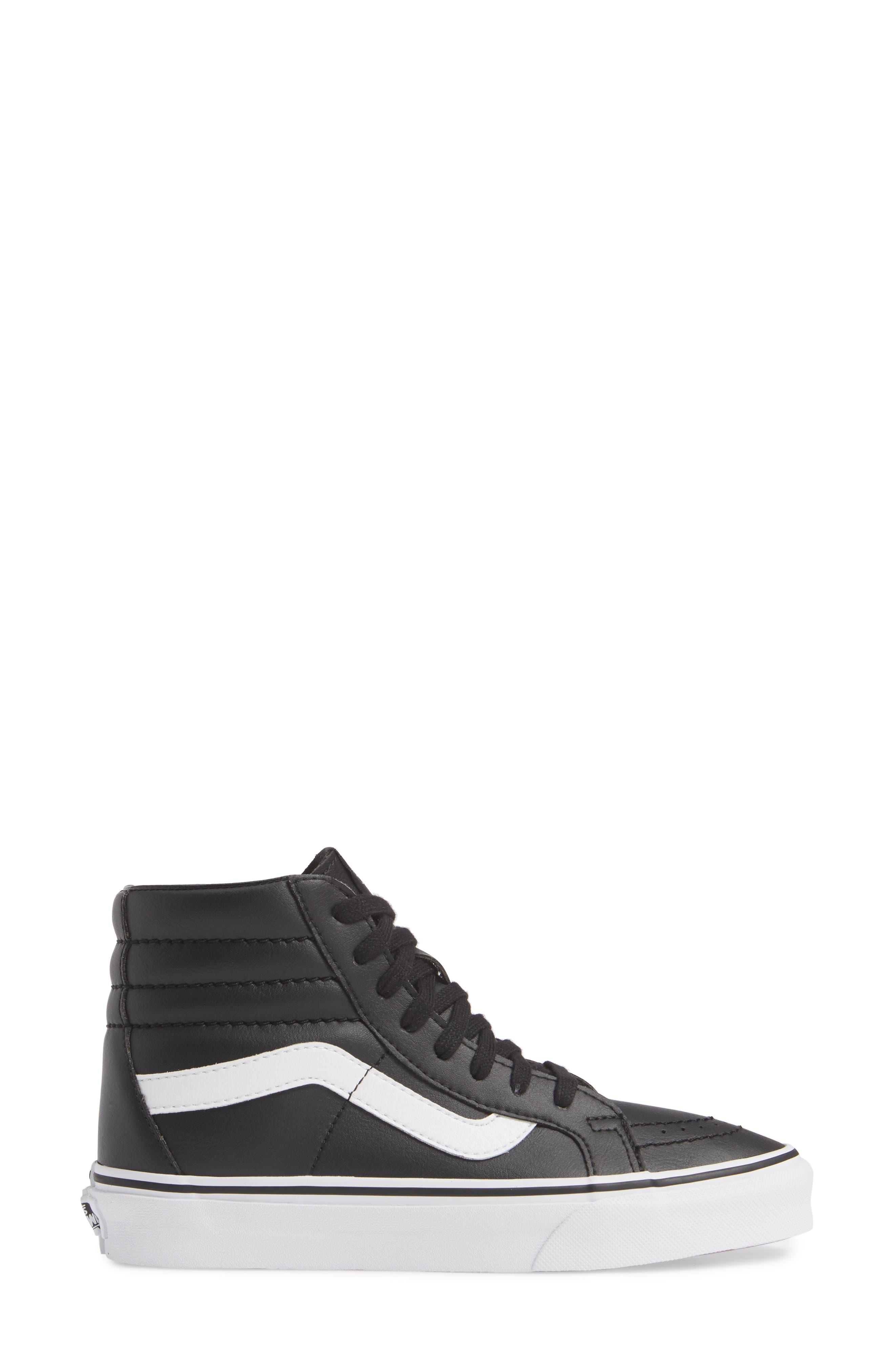 VANS,                             'Sk8-Hi Reissue' Sneaker,                             Alternate thumbnail 3, color,                             BLACK/ TRUE WHITE