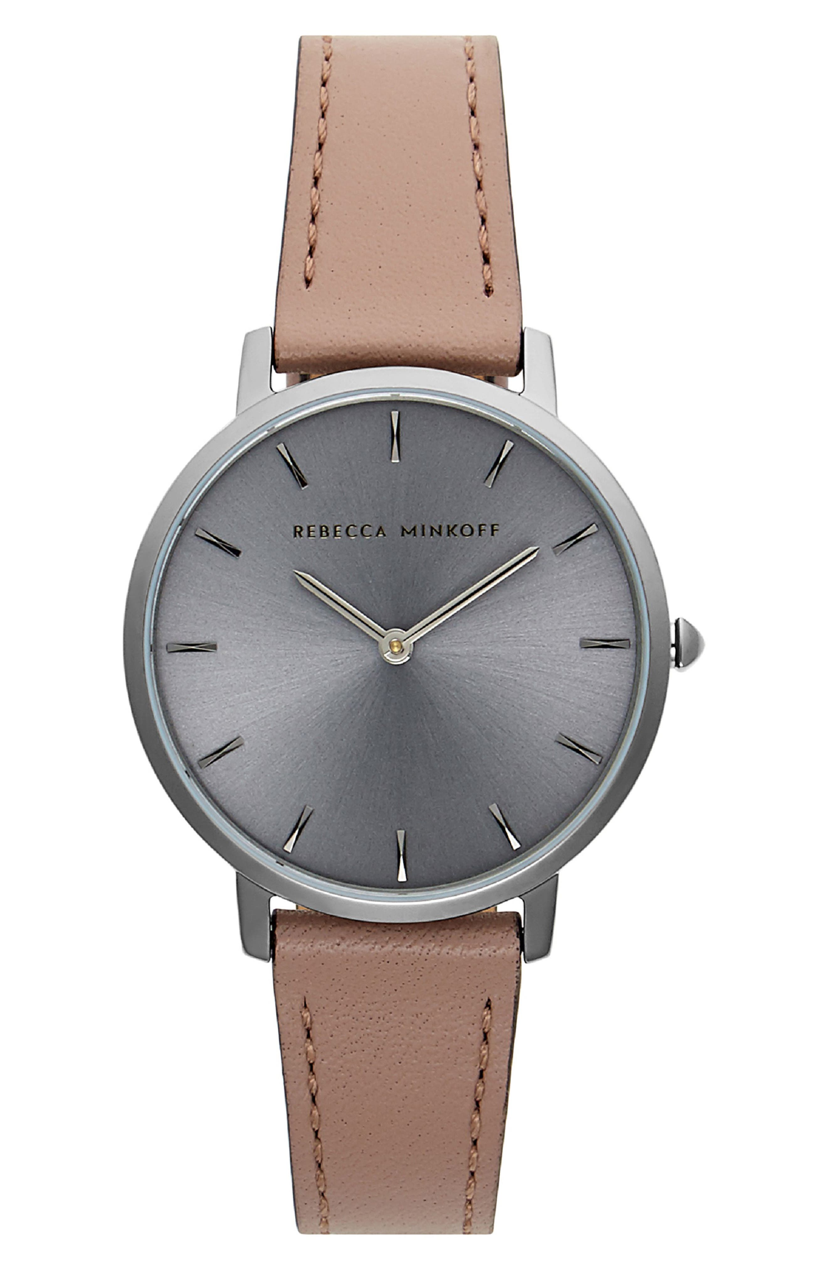 Major Leather Strap Watch, 35mm,                         Main,                         color, MINK/ GREY