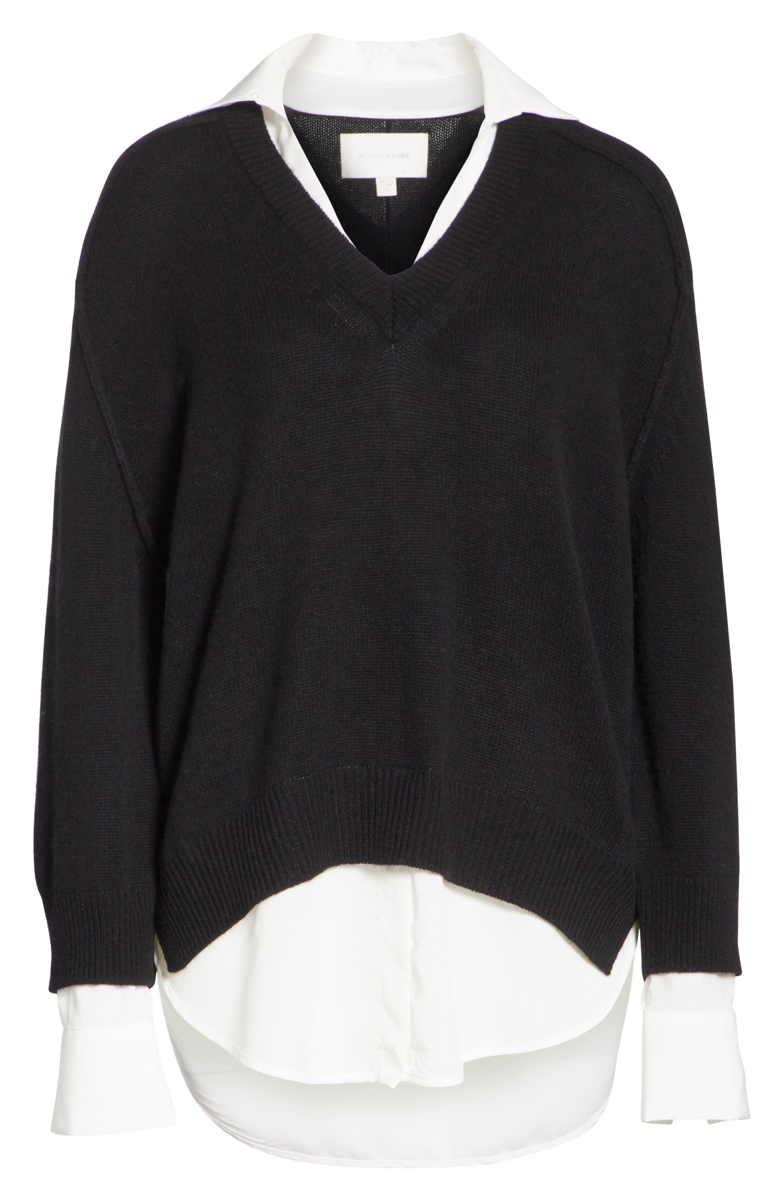 V-Neck Layered Pullover,                             Alternate thumbnail 6, color,                             BLACK ONYX