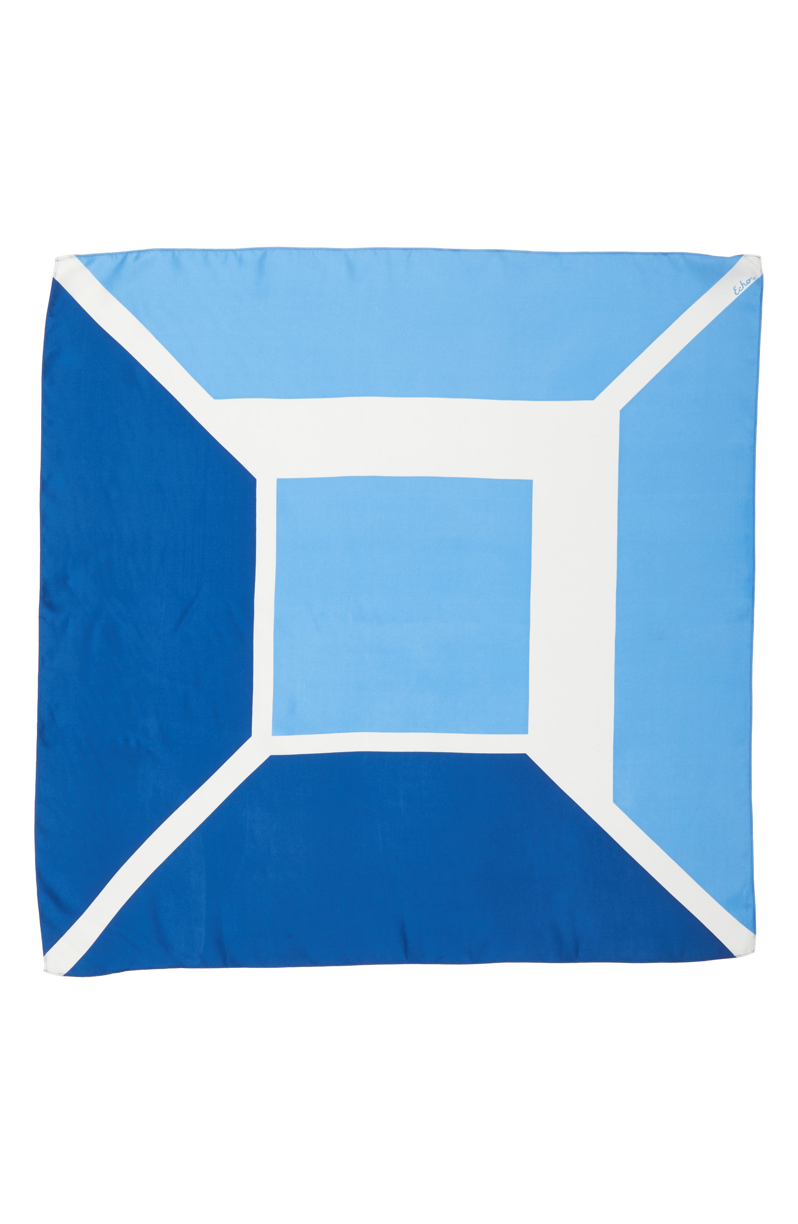 Colorblock Square Silk Scarf,                             Alternate thumbnail 3, color,                             COASTAL BLUE