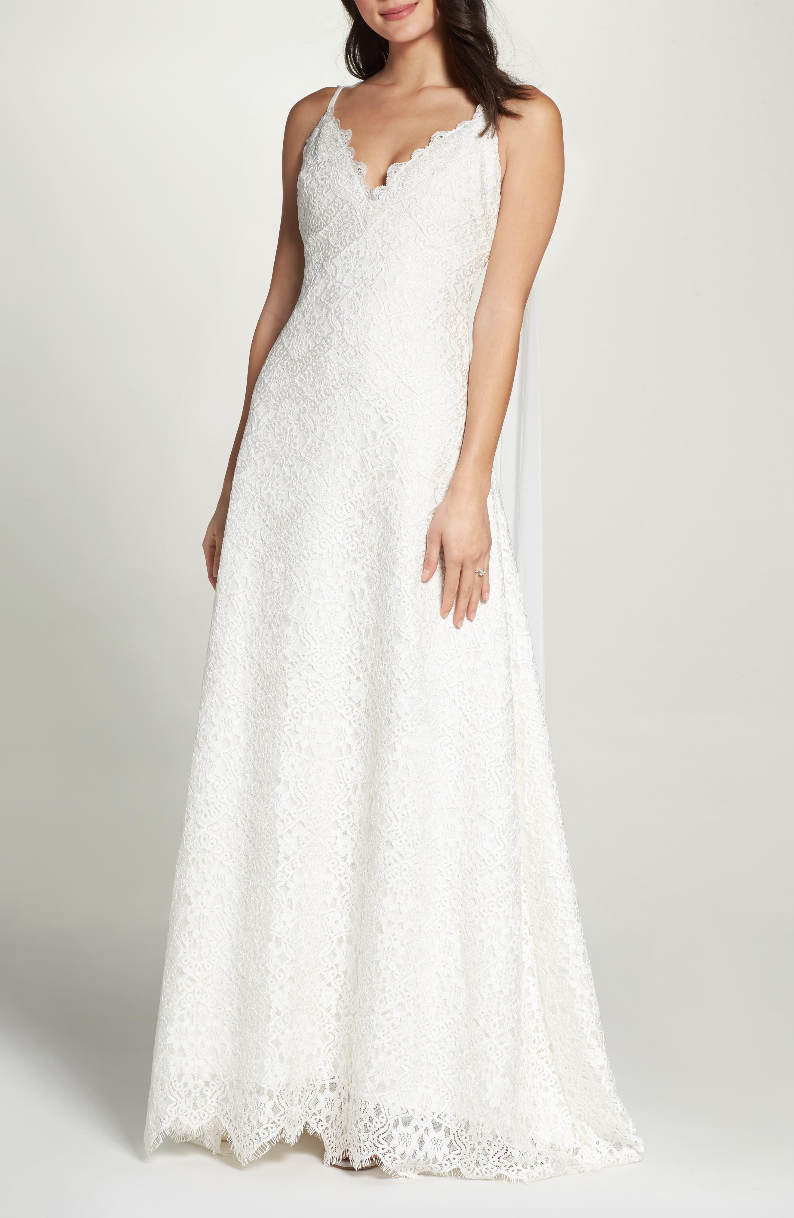 Chiffon Sash Scalloped Lace Gown,                             Main thumbnail 1, color,                             900