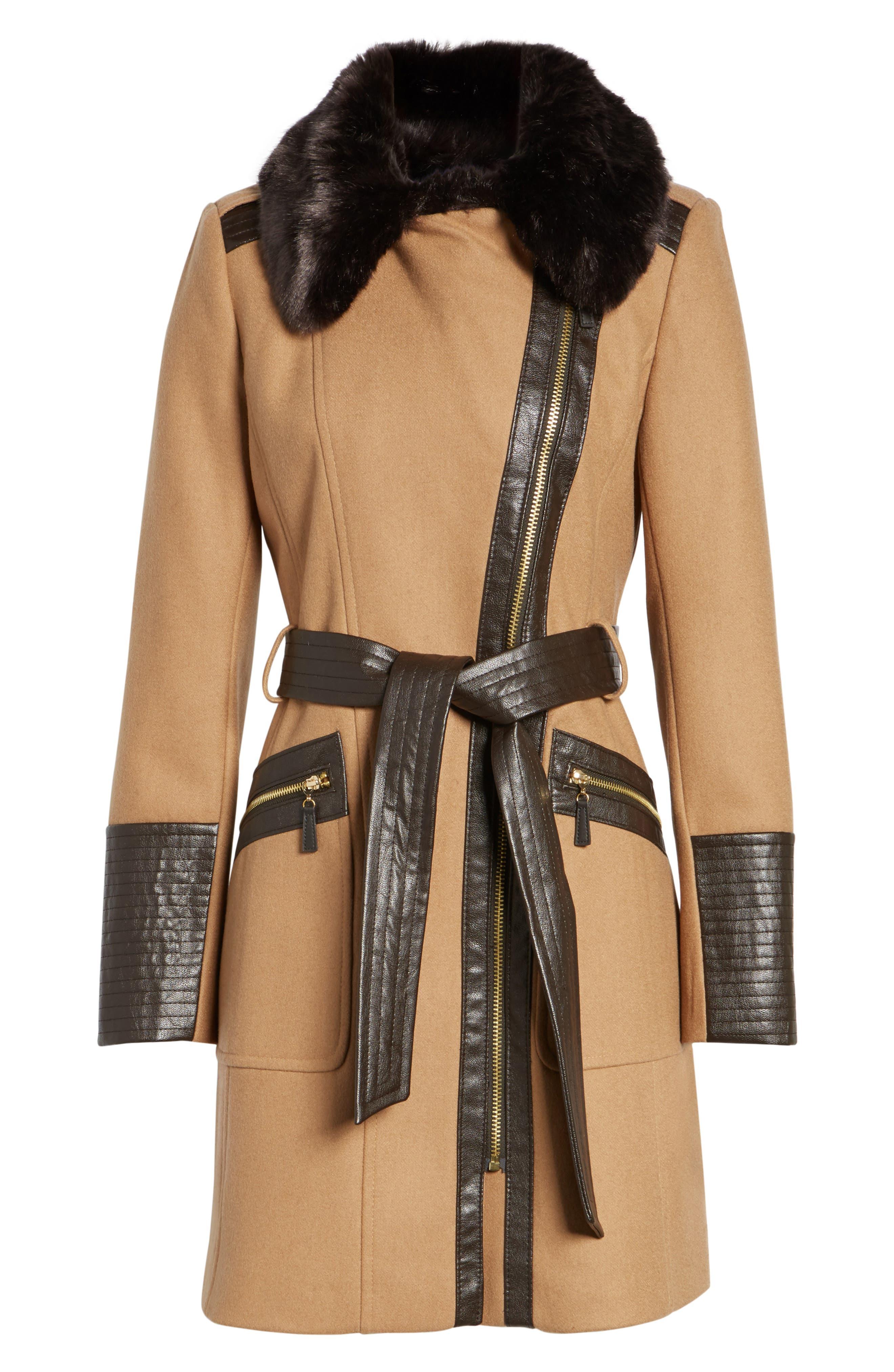 Faux Leather & Faux Fur Trim Belted Wool Blend Coat,                             Alternate thumbnail 33, color,