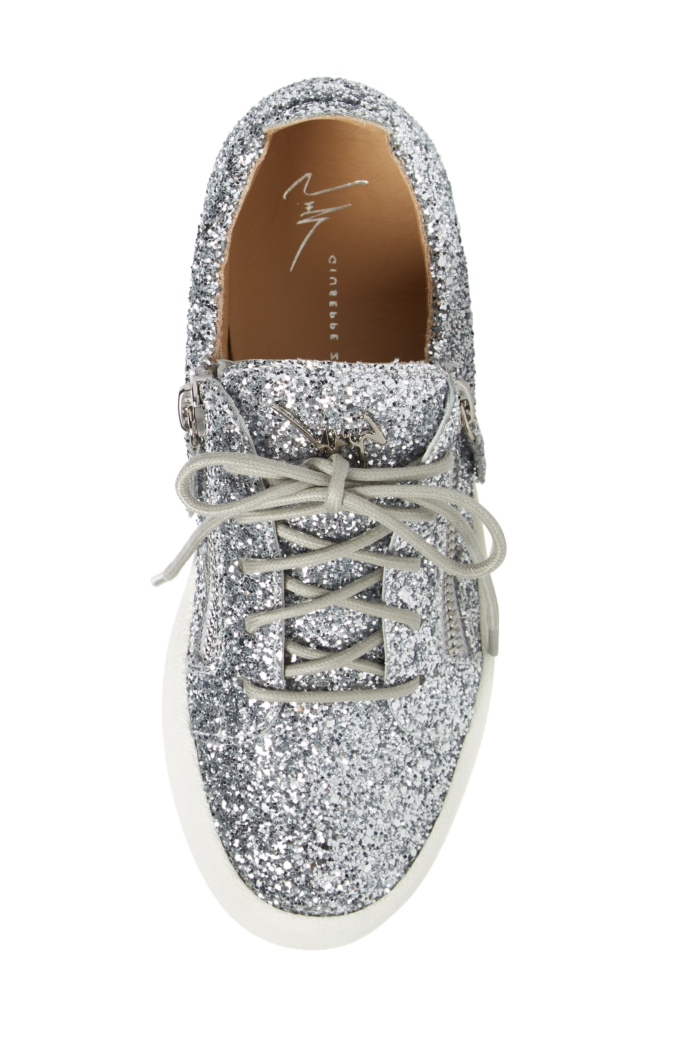 May London Low Top Sneaker,                             Alternate thumbnail 5, color,                             SILVER GLITTER