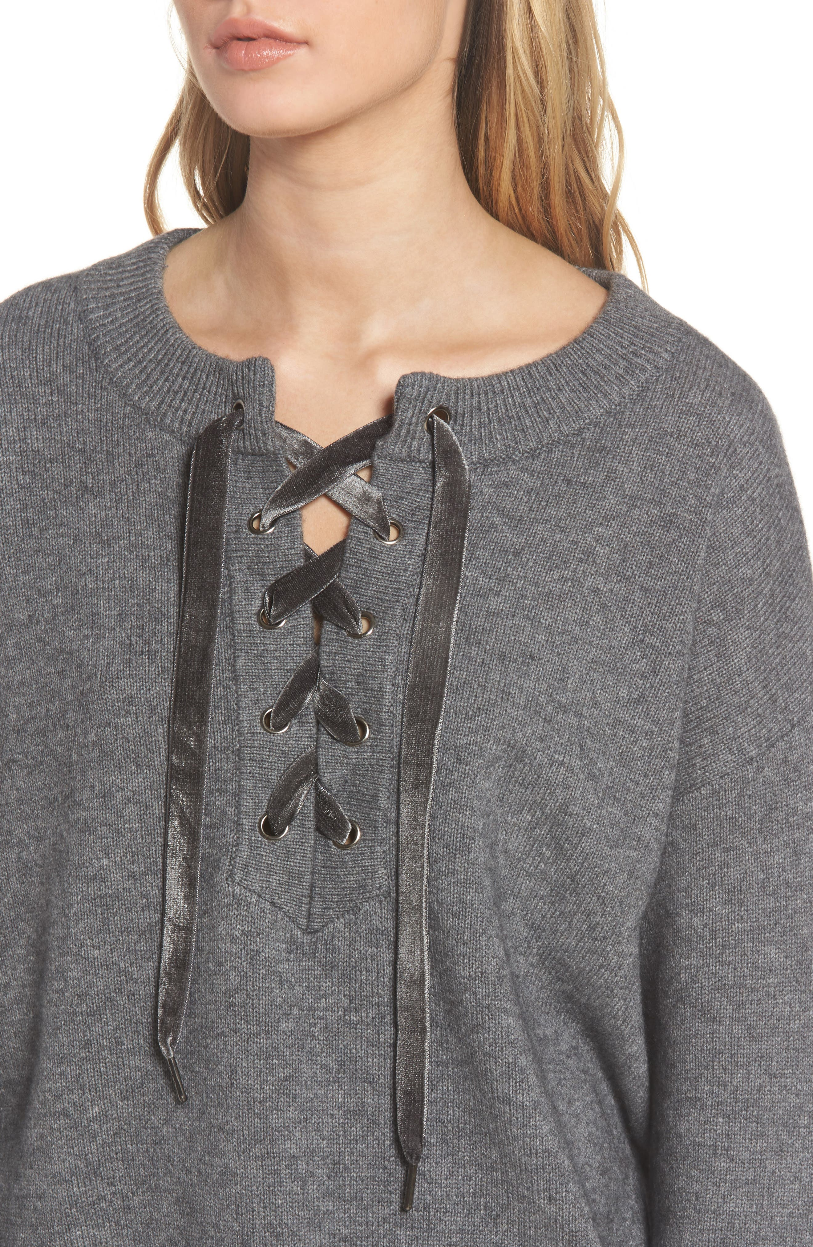 Olivia Lace-Up Sweater,                             Alternate thumbnail 4, color,                             ASH