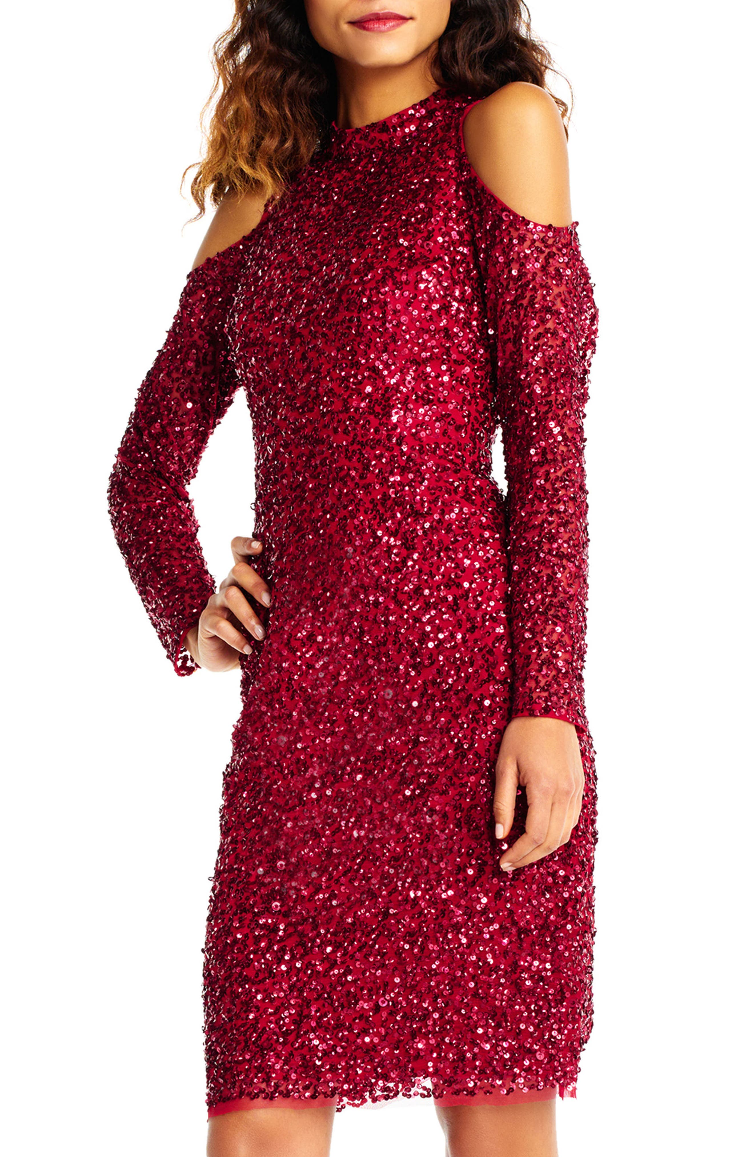 Beaded Cold Shoulder Sheath Dress,                             Alternate thumbnail 3, color,                             601