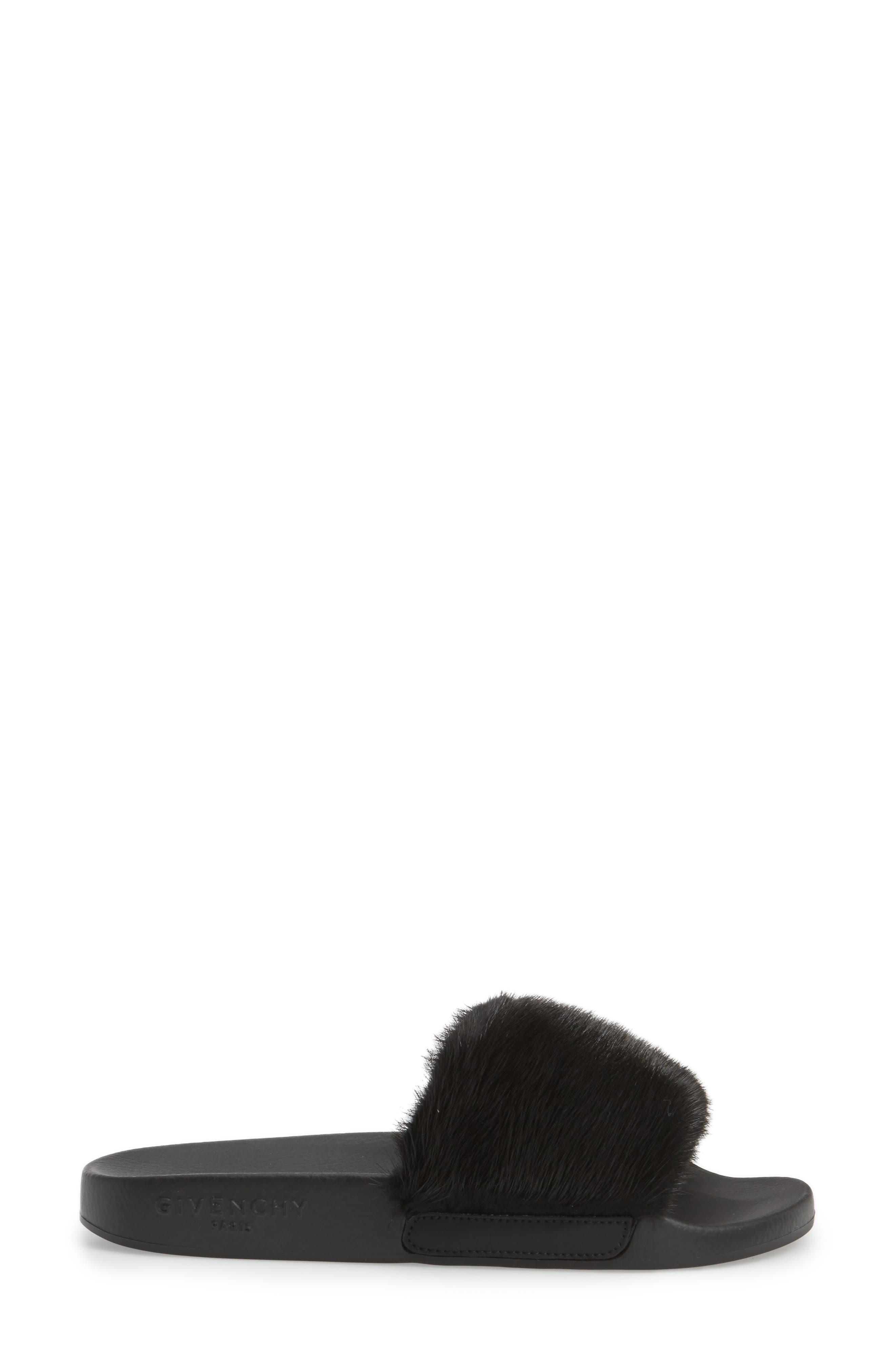 Genuine Mink Fur Slide Sandal,                             Alternate thumbnail 3, color,                             BLACK MINK