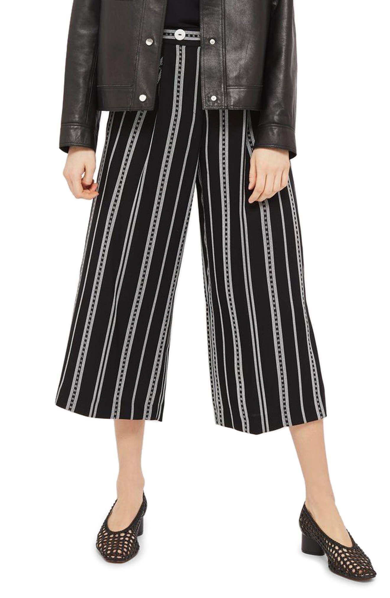 Crop Wide Leg Stripe Trousers,                         Main,                         color, 002
