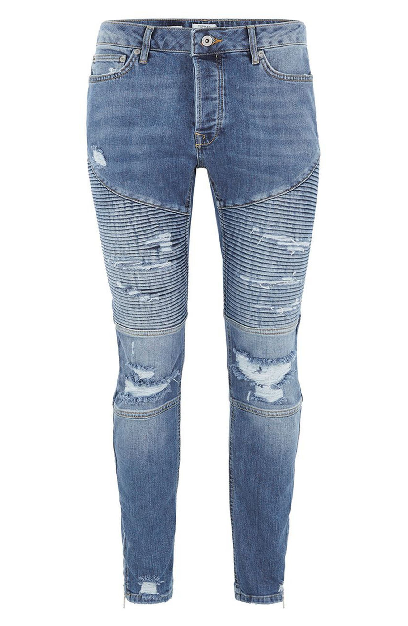 Ripped Zip Skinny Biker Jeans,                             Alternate thumbnail 4, color,                             400