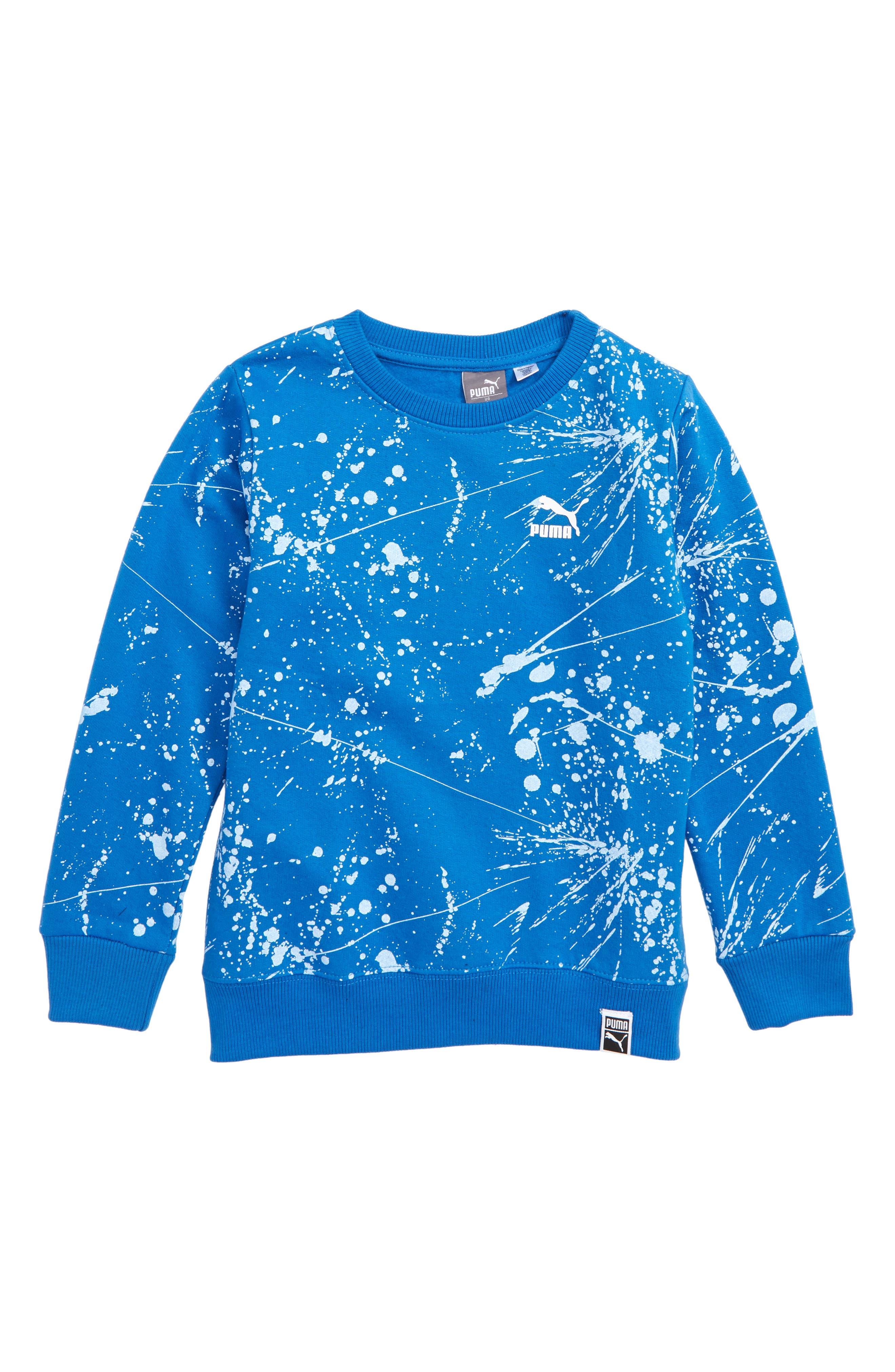 Splatter Fleece Sweatshirt,                             Main thumbnail 1, color,                             STRONG BLUE