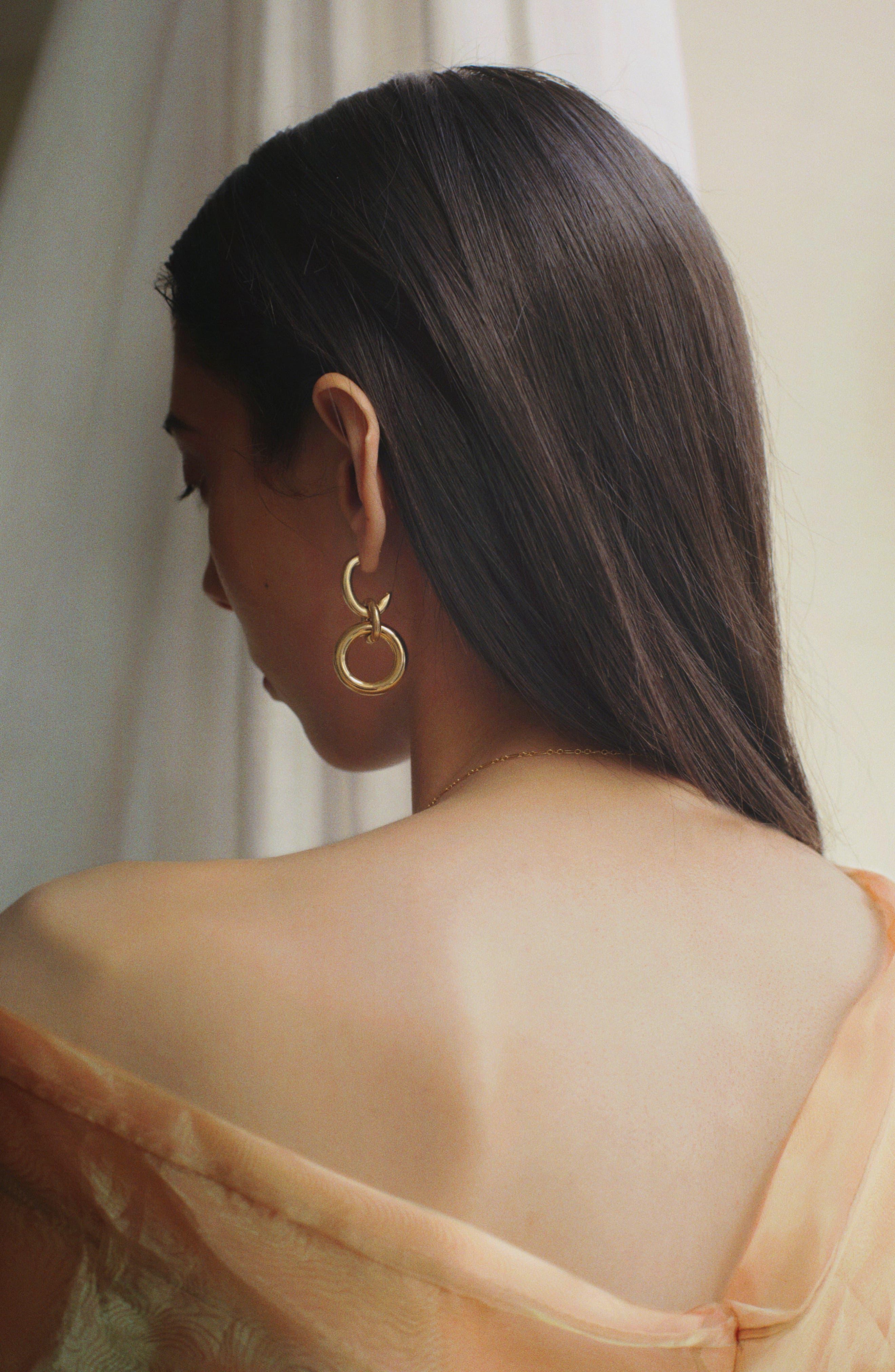Tira Earrings,                             Alternate thumbnail 3, color,                             BRASS