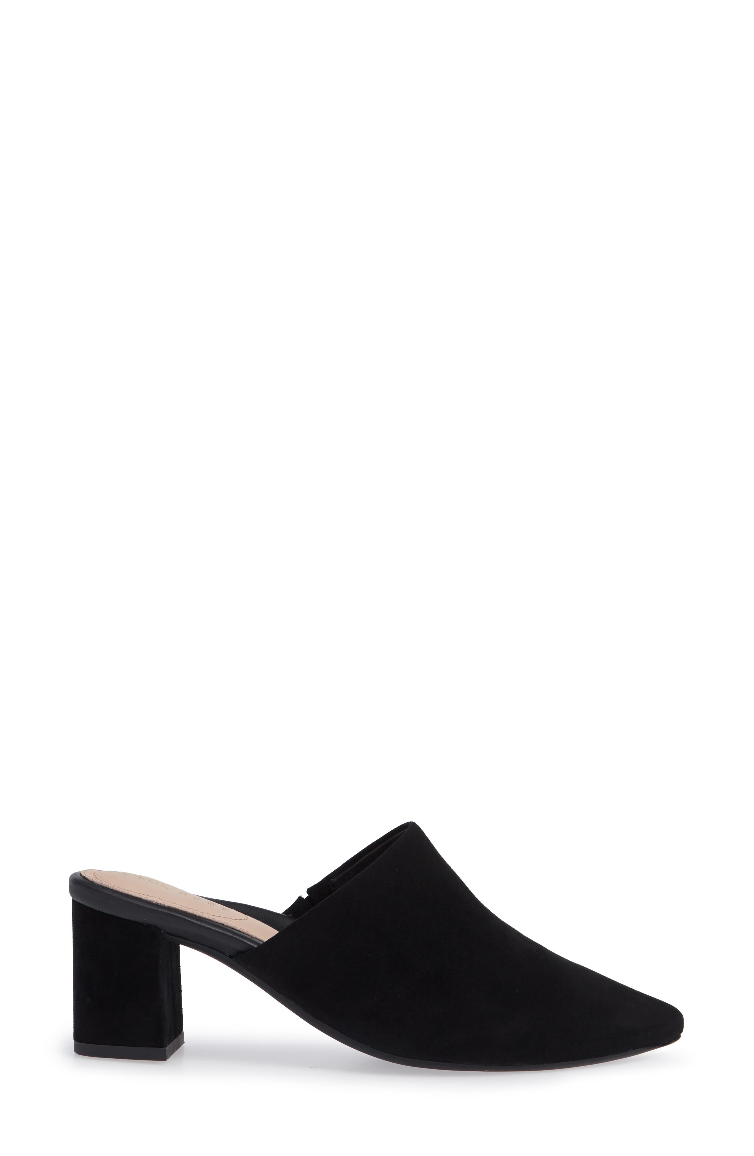 Madisson Pointy Toe Mule,                             Alternate thumbnail 3, color,                             BLACK SUEDE