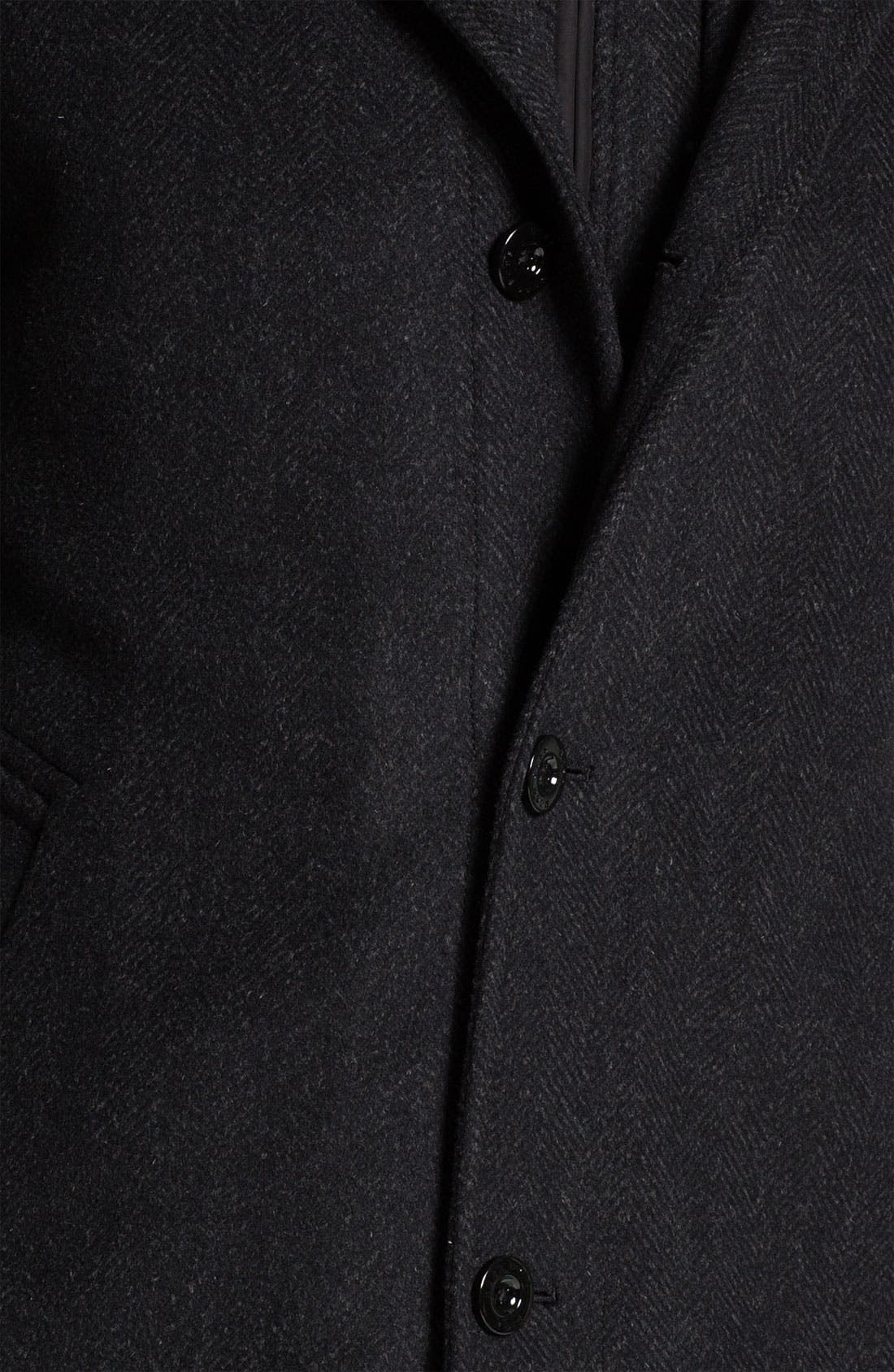 HUGO BOSS 'Coxtan' Wool & Cashmere Coat,                             Alternate thumbnail 3, color,                             001