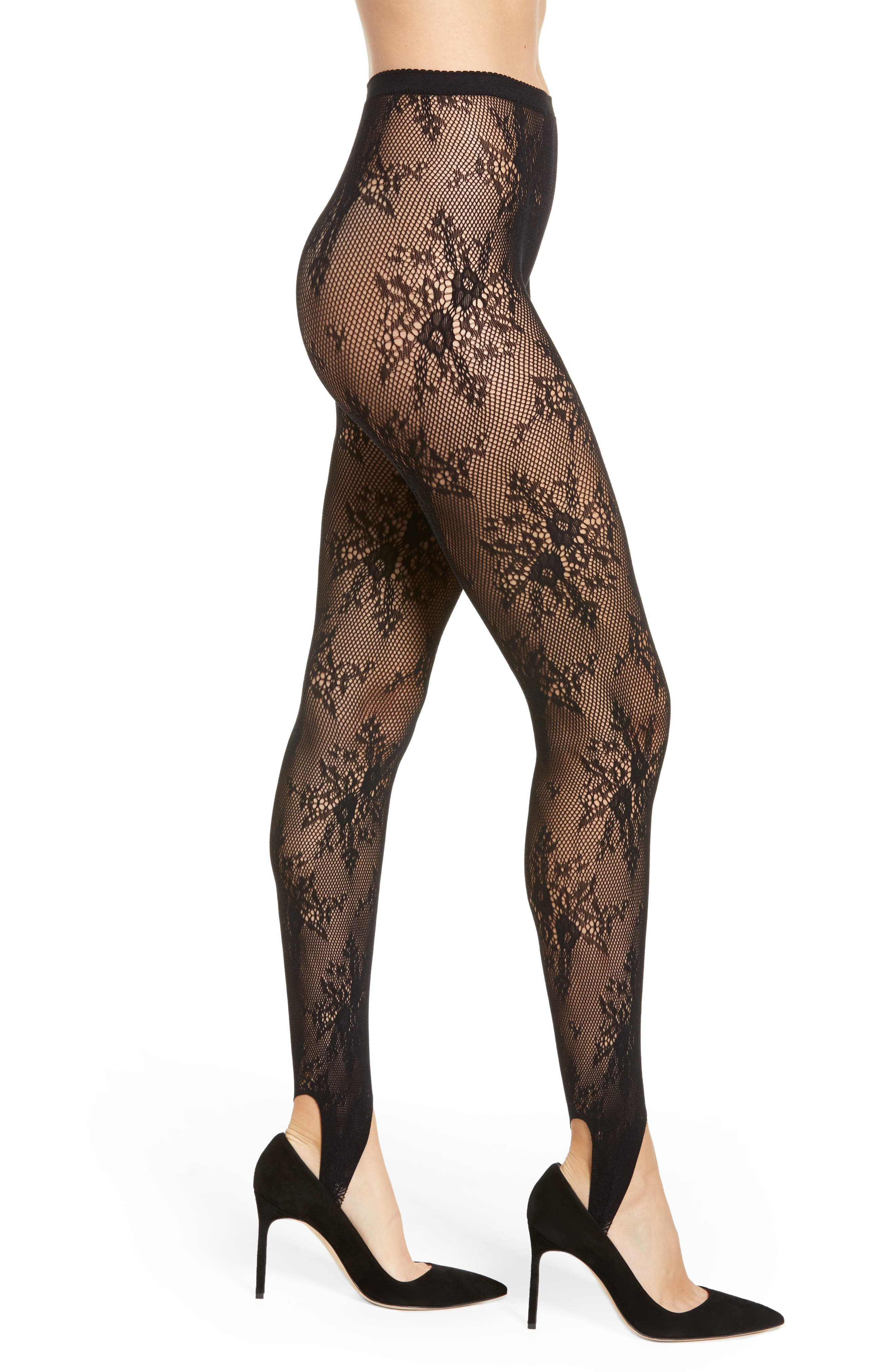 NORDSTROM,                             Floral Fishnet Stirrup Tights,                             Main thumbnail 1, color,                             001