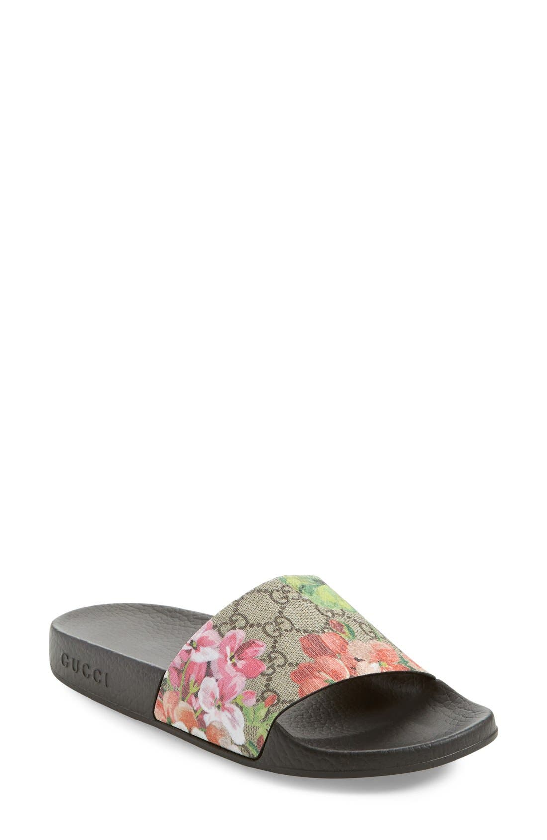 Slide Sandal,                             Main thumbnail 1, color,                             MULTI COLOR FABRIC