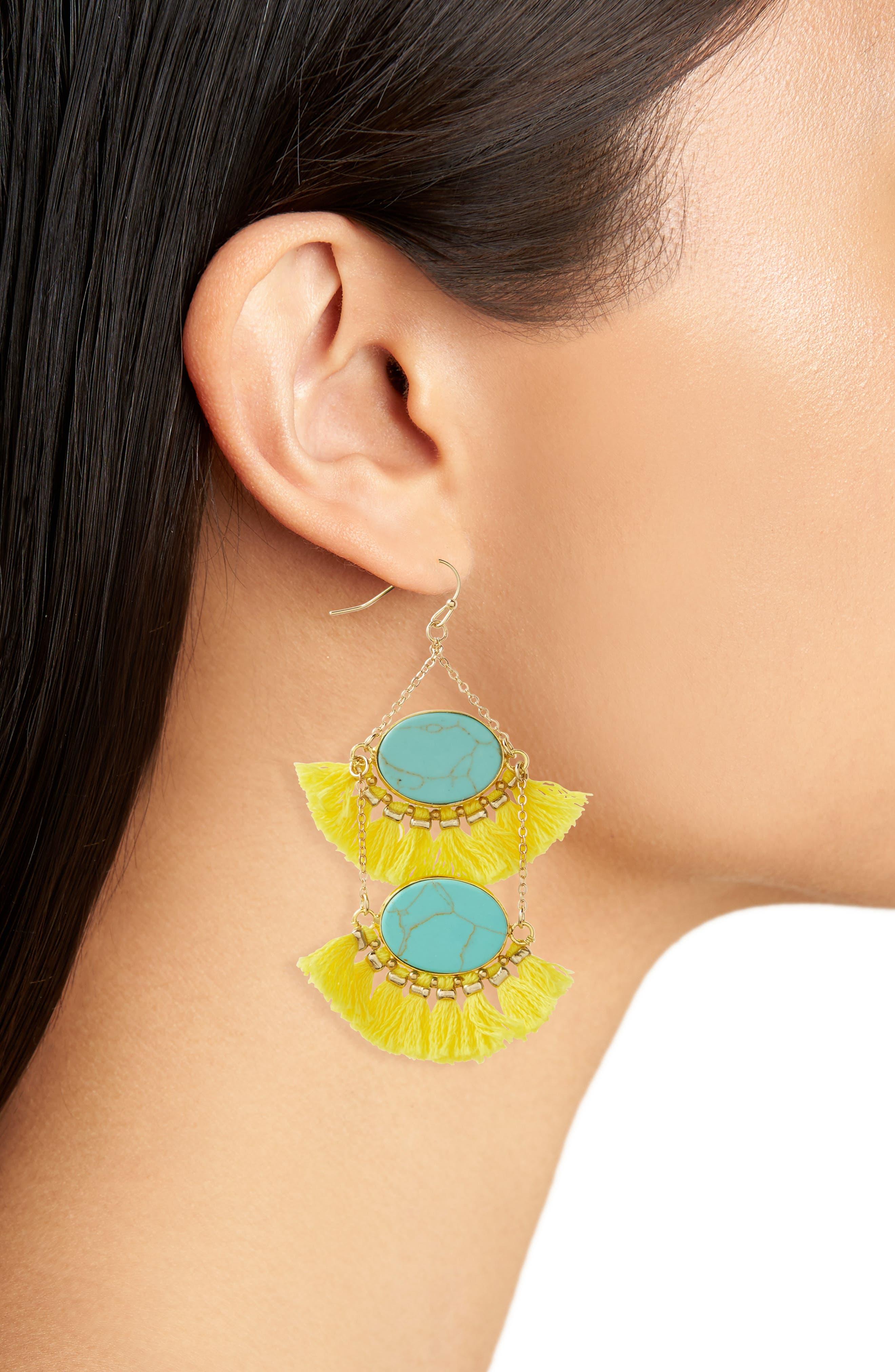 Double Drop Fringe Earrings,                             Alternate thumbnail 2, color,                             700