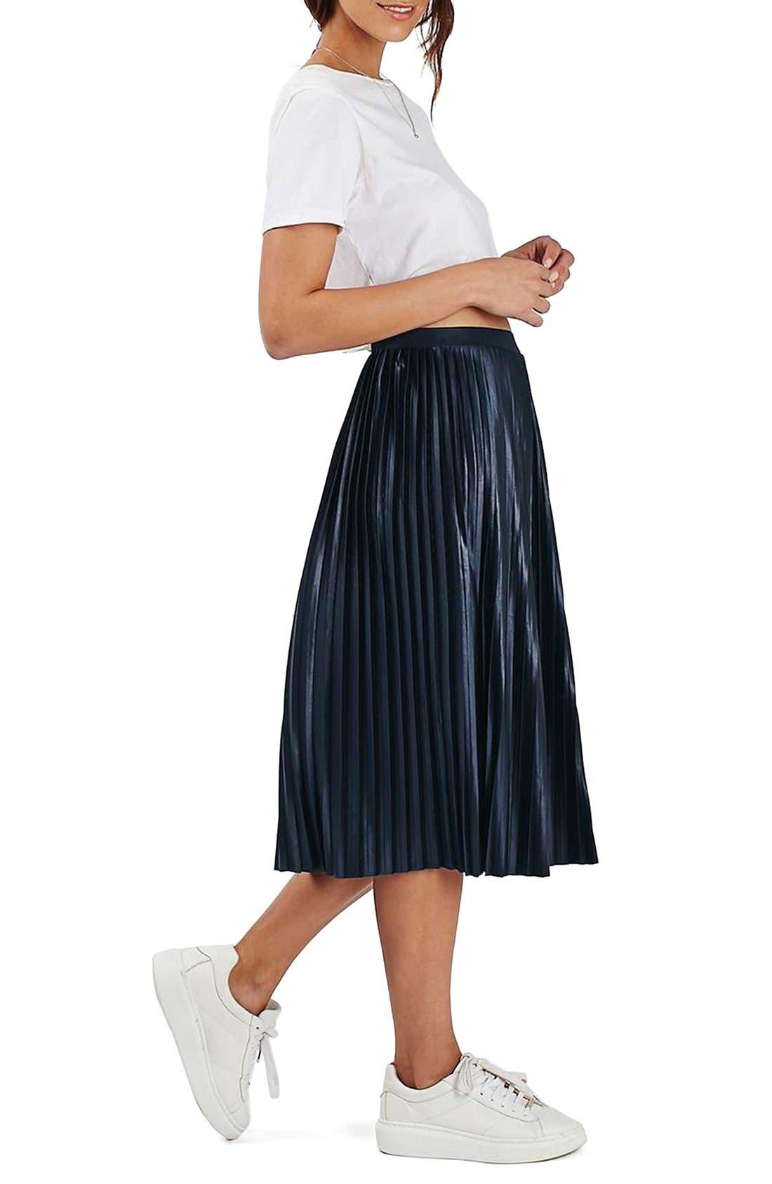 TOPSHOP,                             Pleat Jersey Midi Skirt,                             Alternate thumbnail 2, color,                             410