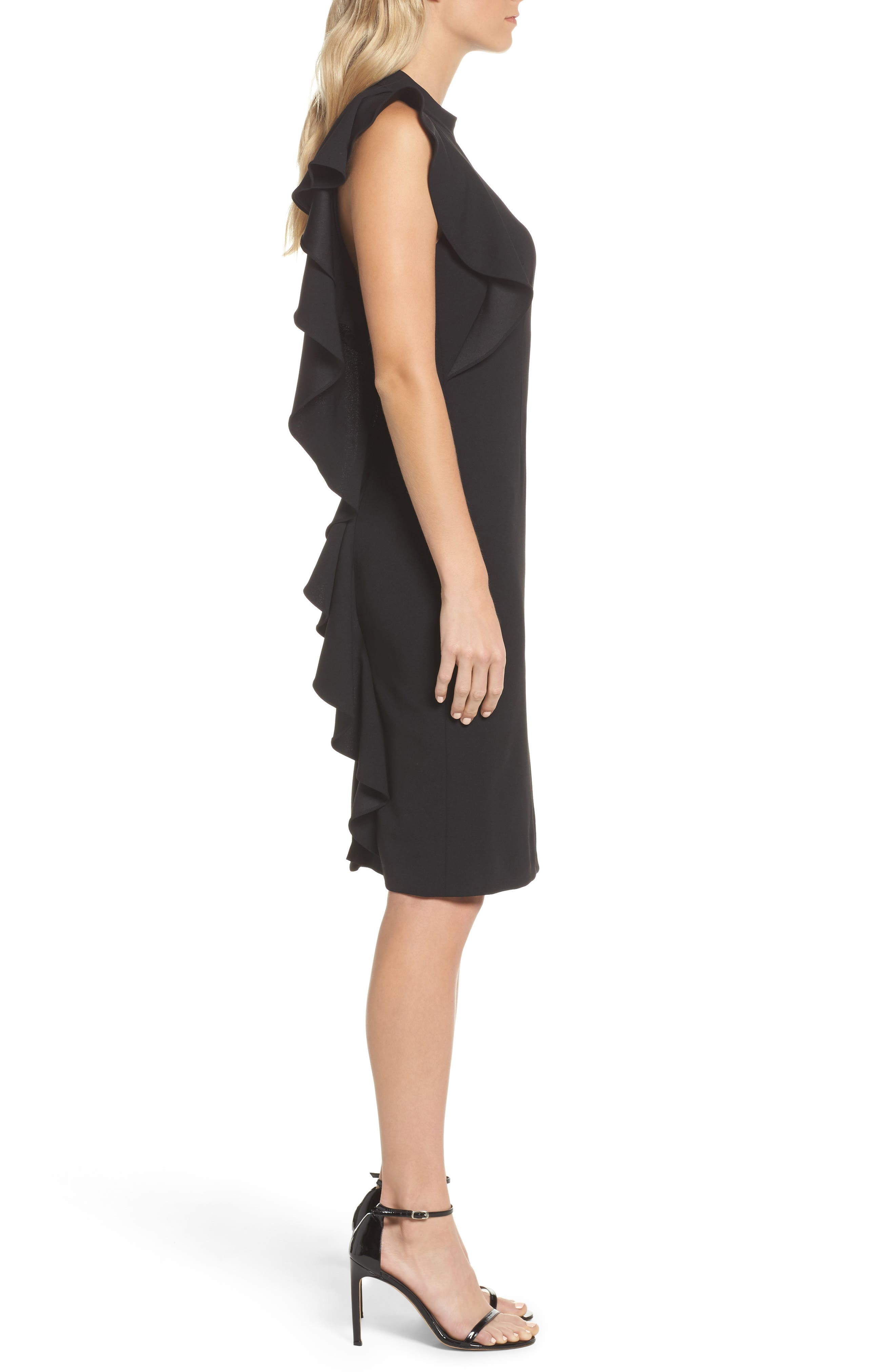 Ruffle Crepe Halter Dress,                             Alternate thumbnail 3, color,                             002