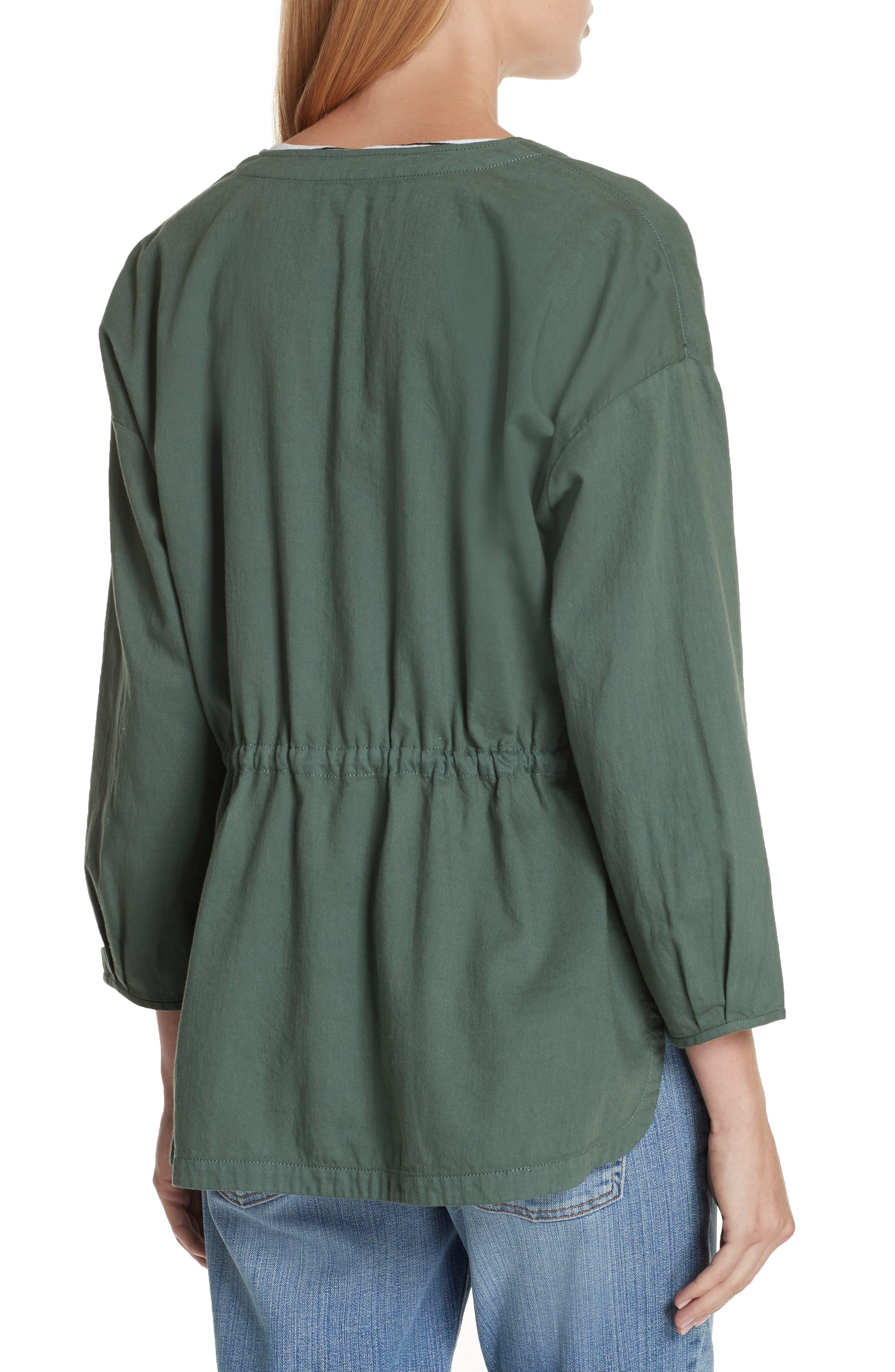 Shirttail Hem Organic Cotton Jacket,                             Alternate thumbnail 4, color,