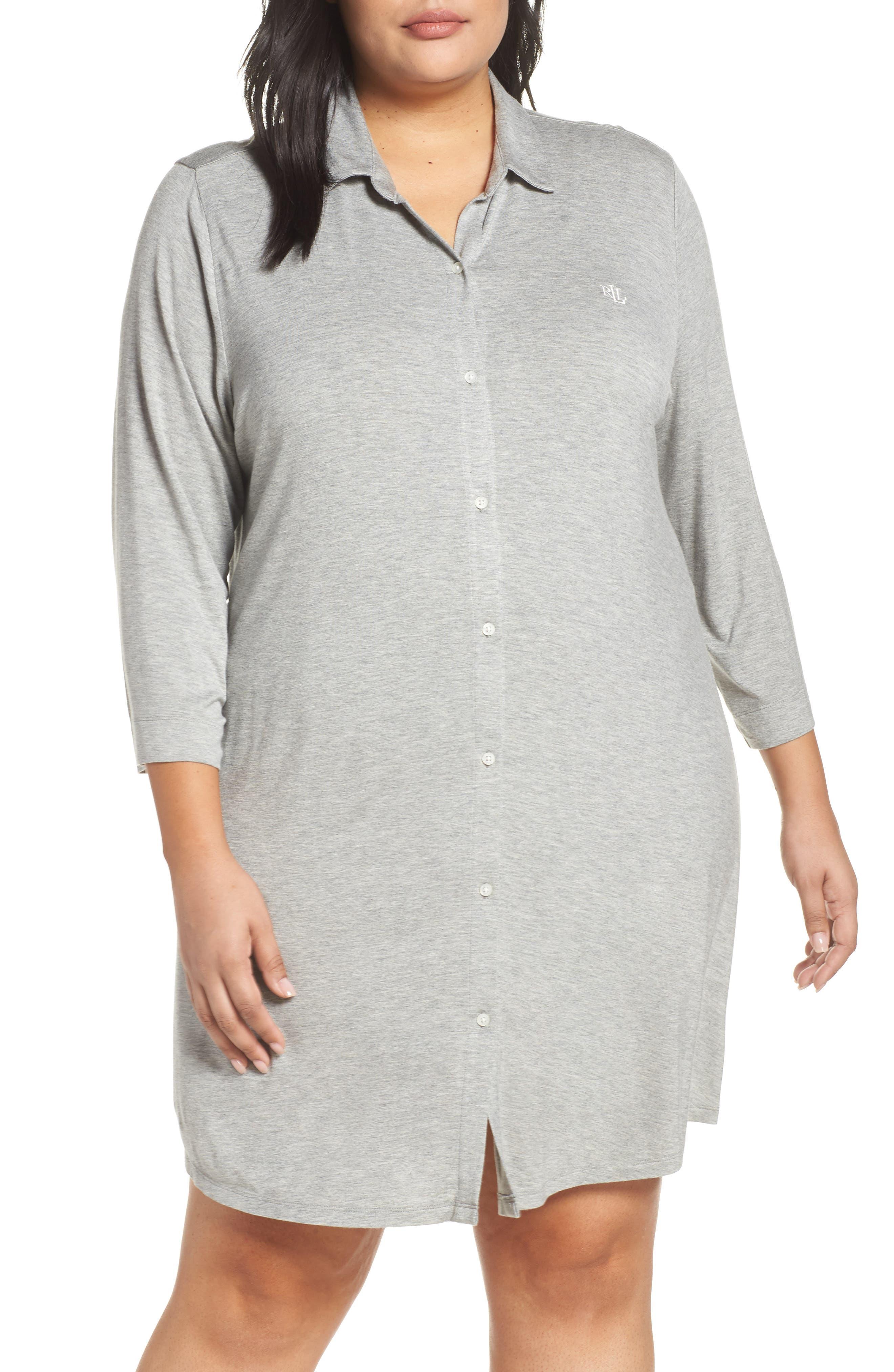 Plus Size Lauren Ralph Lauren Sleep Shirt, Grey