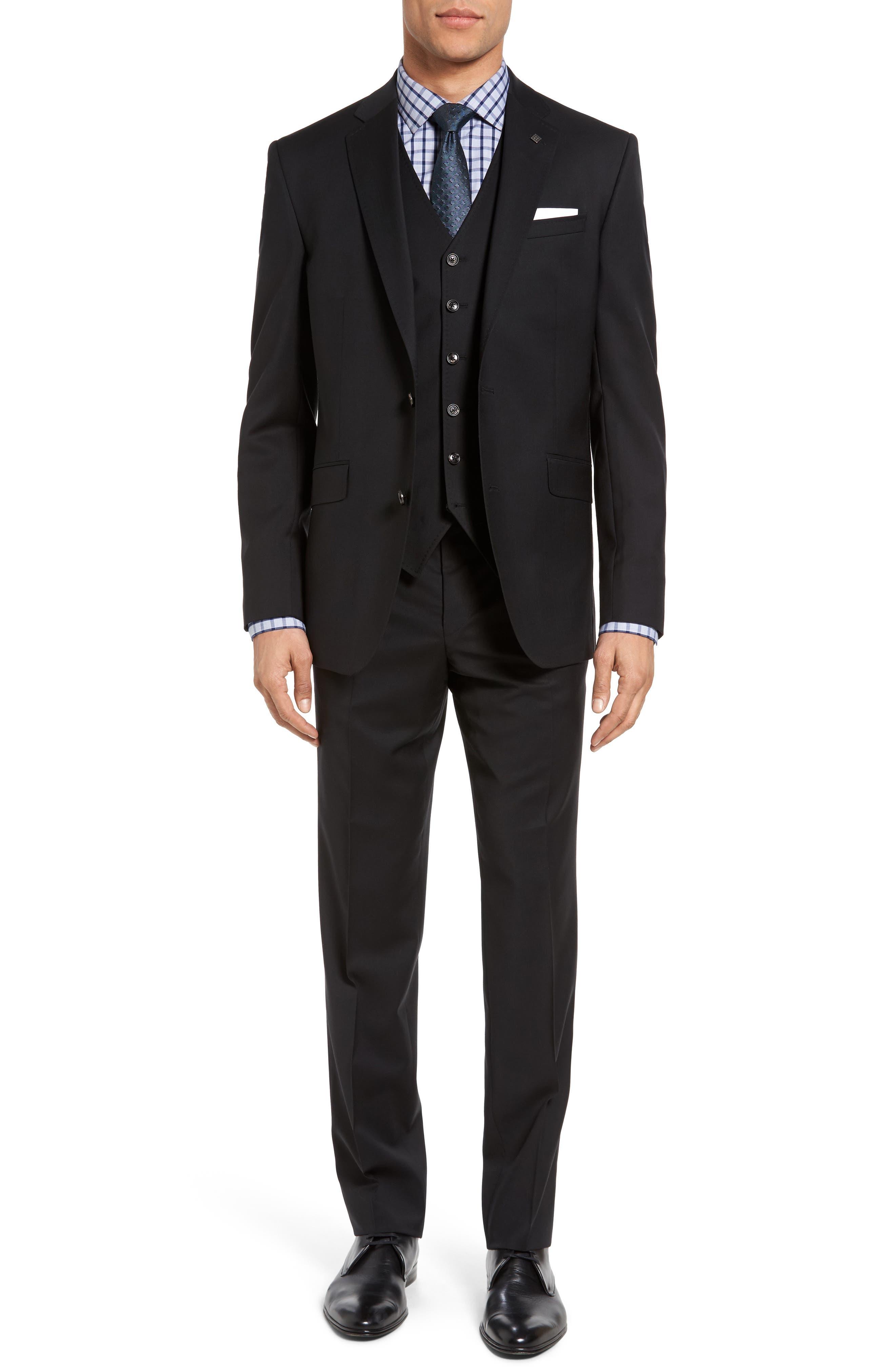 Jones Trim Fit Wool Suit,                             Alternate thumbnail 8, color,                             001