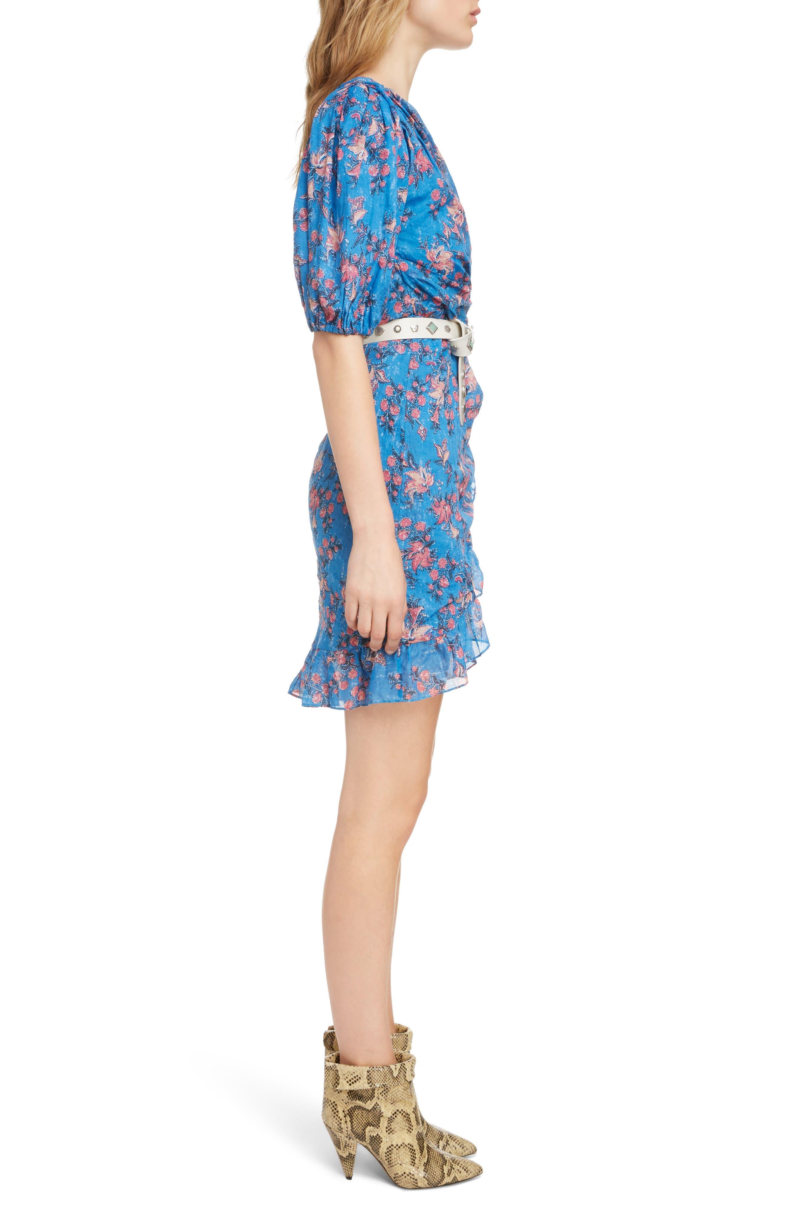 ISABEL MARANT ÉTOILE,                             Esther One-Shoulder Dress,                             Alternate thumbnail 3, color,                             BLUE