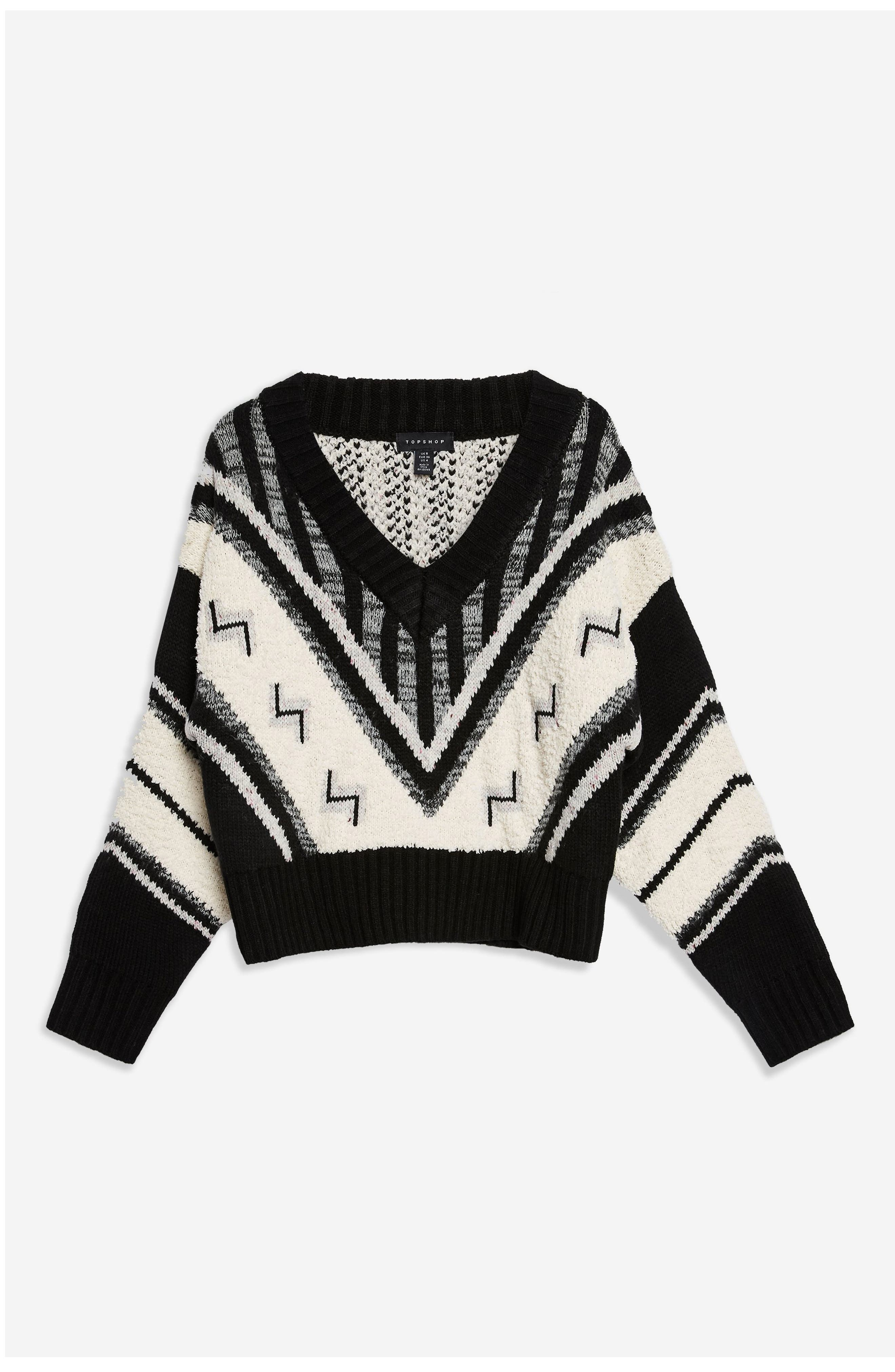 Aztec Rock 'n' Roll Sweater,                             Alternate thumbnail 4, color,                             BLACK MULTI