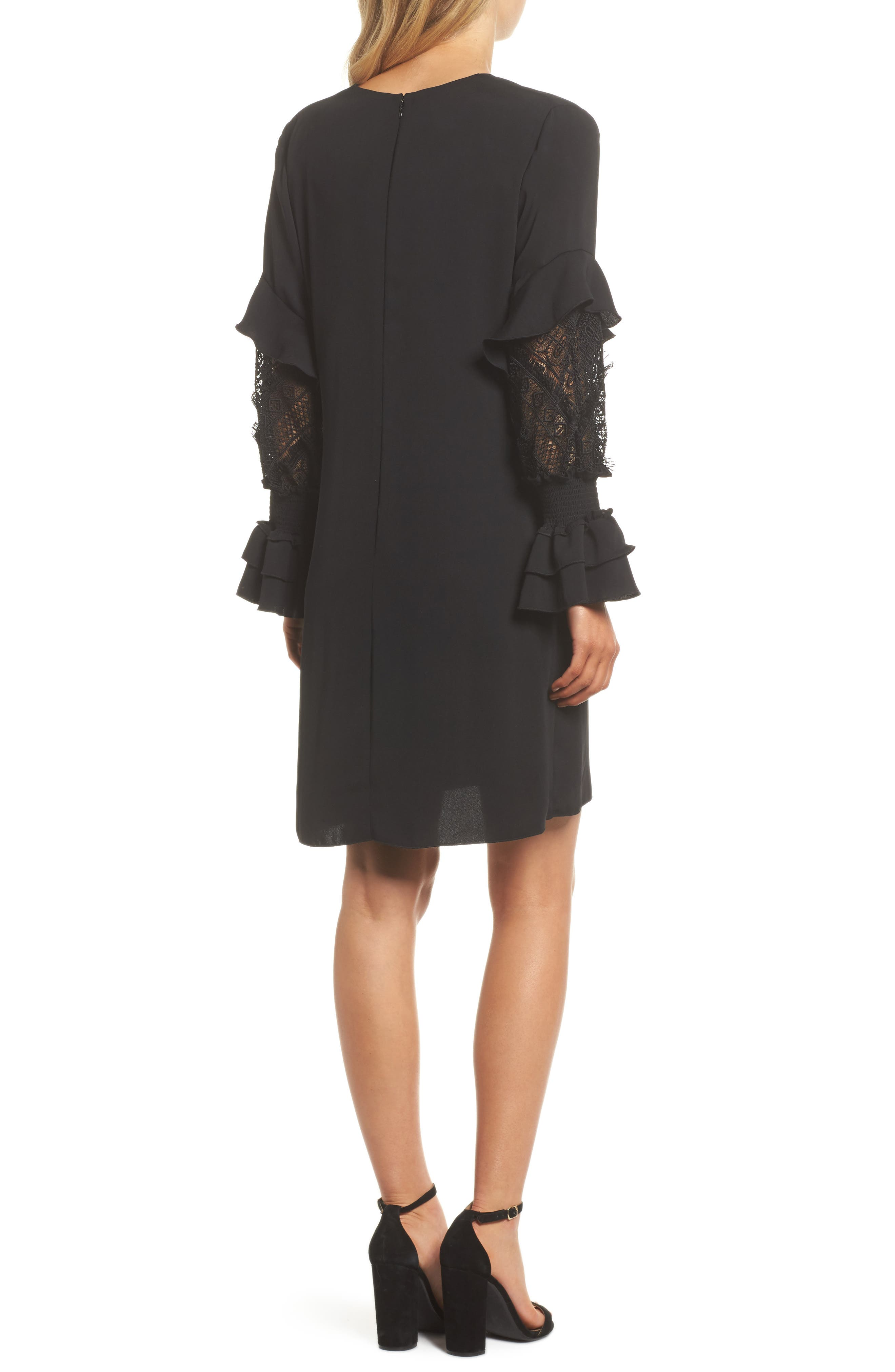 Alda Lace Sleeve Shift Dress,                             Alternate thumbnail 2, color,                             001