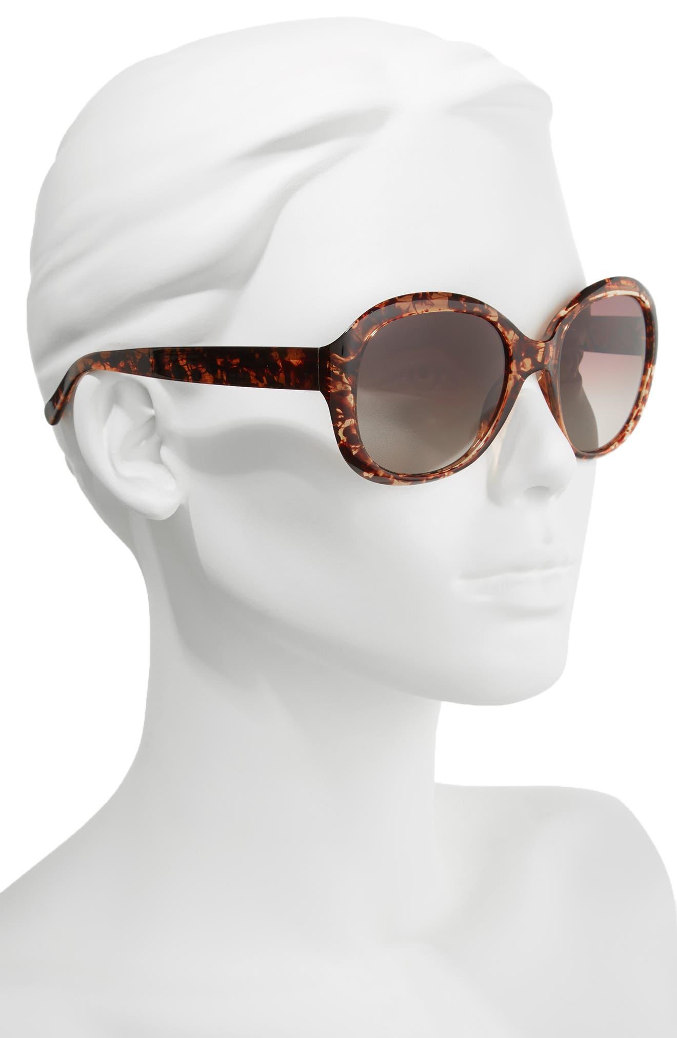 Magnolia 57mm Polarized Round Sunglasses,                             Alternate thumbnail 2, color,                             HAVANA