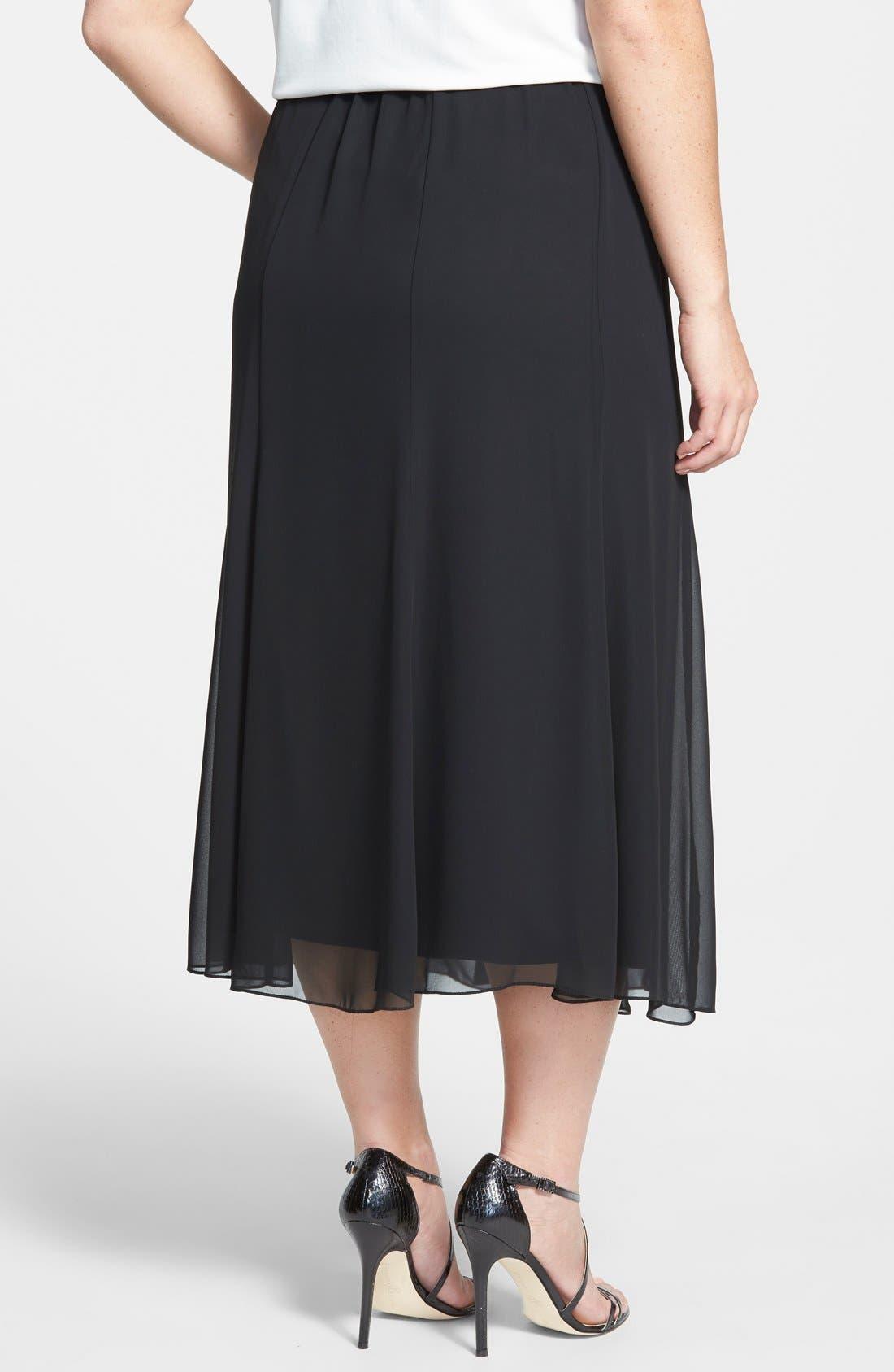 Chiffon Skirt,                             Alternate thumbnail 2, color,                             BLACK
