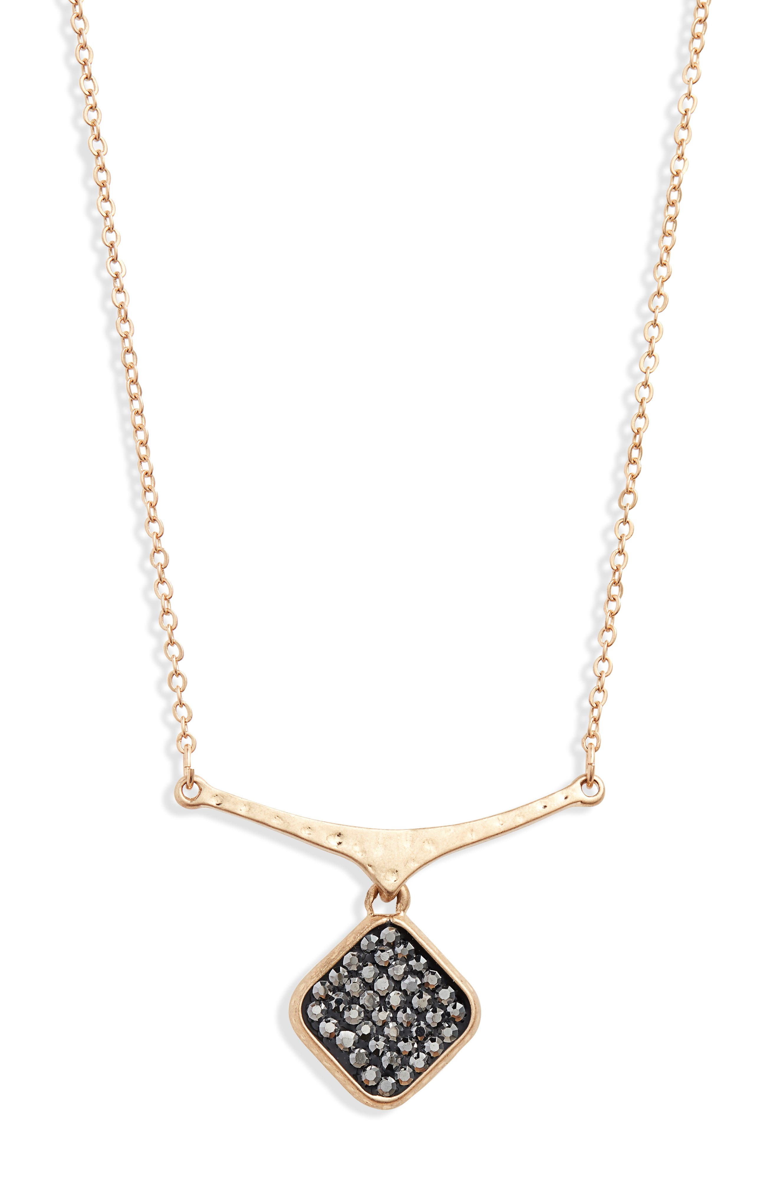 Short Pavé Shield Pendant Necklace,                             Main thumbnail 1, color,                             BLACK DIAMOND- GOLD